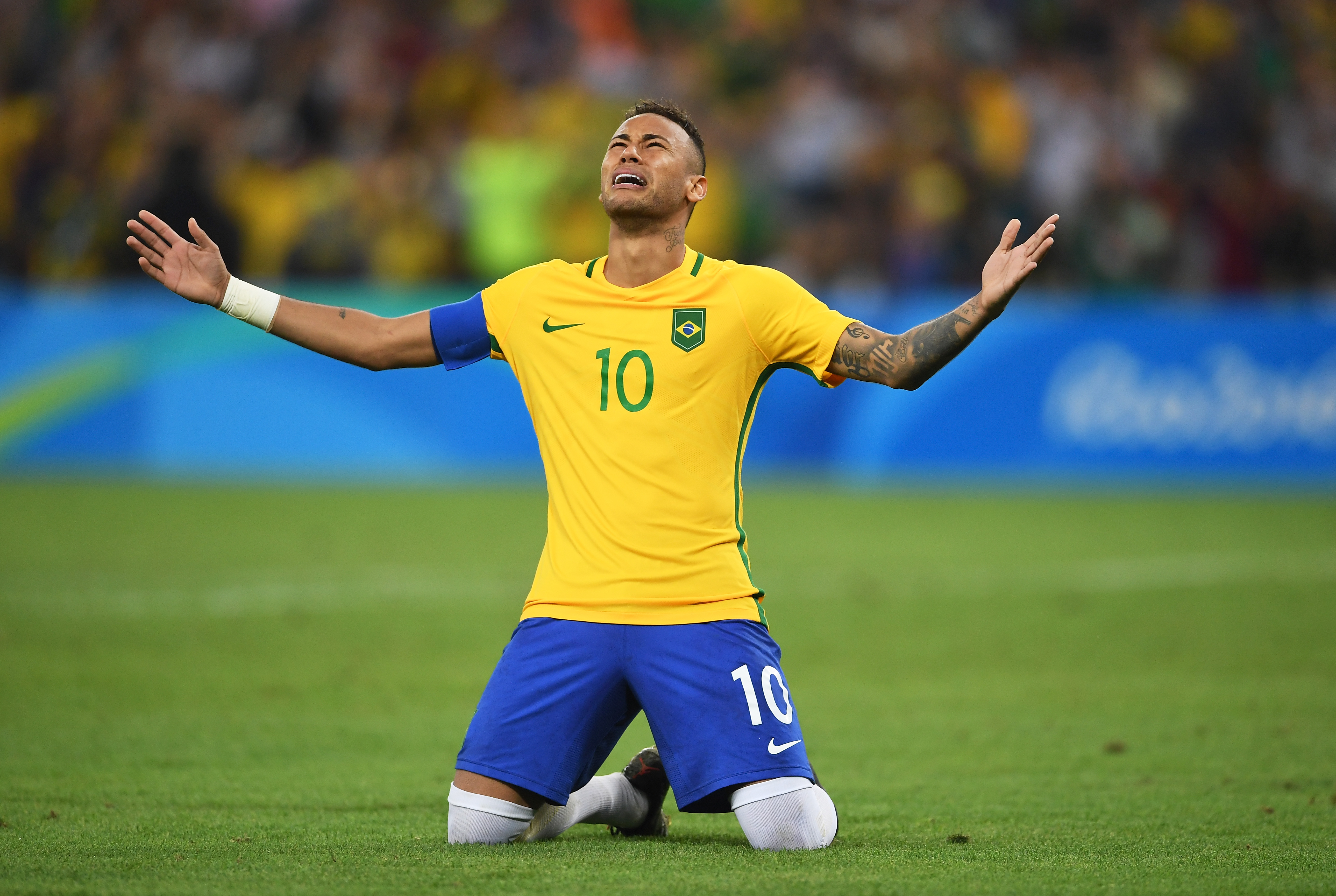 Neymar of Brazil celebrates scoring the winning penalty in the penalty shoot out during the Men's Football Final between Brazil and Germany at the Maracana Stadium on Day 15 of the Rio 2016 Olympic Games on Aug. 20, 2016 in Rio de Janeiro, Brazil.