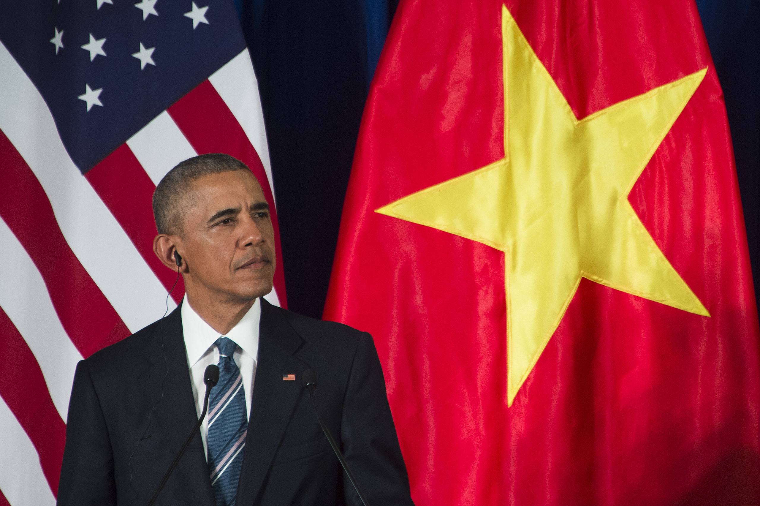 Barack Obama speaks during a joint press conference in Hanoi on May 23, 2016.