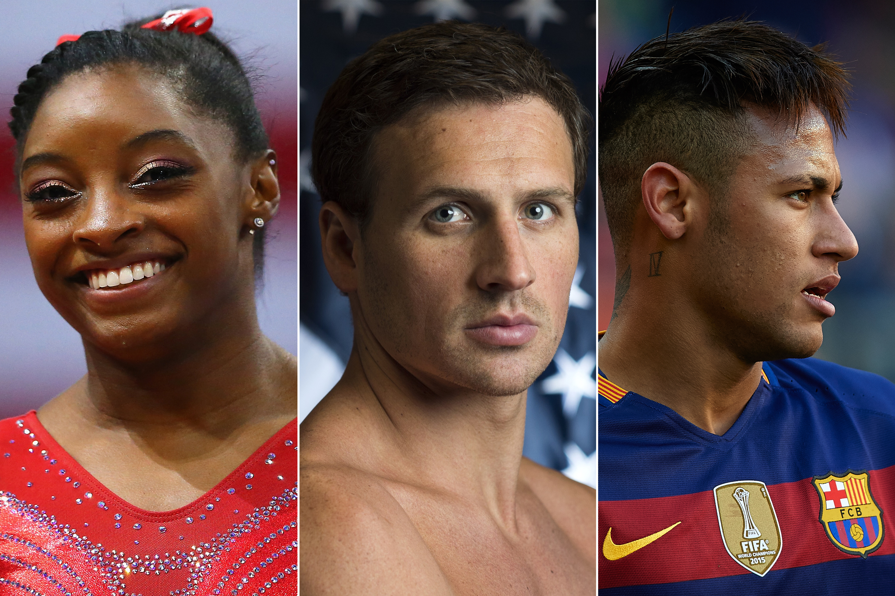 Simone Biles, Ryan Lochte and Neymar JR