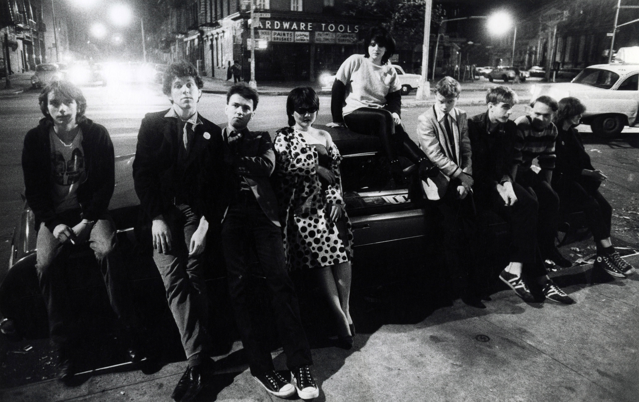 No Wave Punks, Bowery  1978. l. to r. Harold Paris, Kristian Hoffman, DIego Cortez, Anya Phillips, Lydia Lunch, James Chance, Jim Sclavunos, Bradly Field, and Liz Seidman.