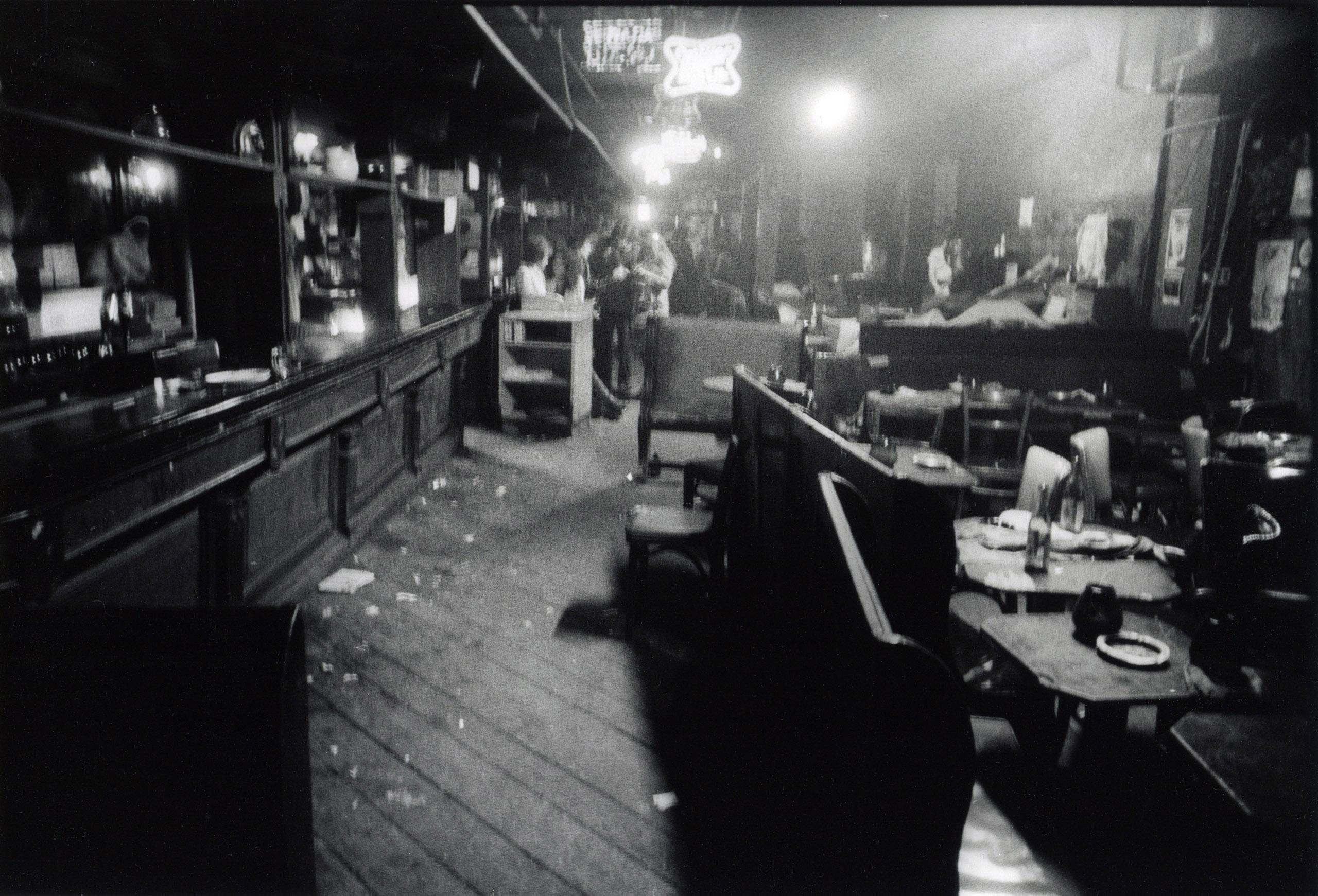 CBGB interior at closing time, 4am, 1977.