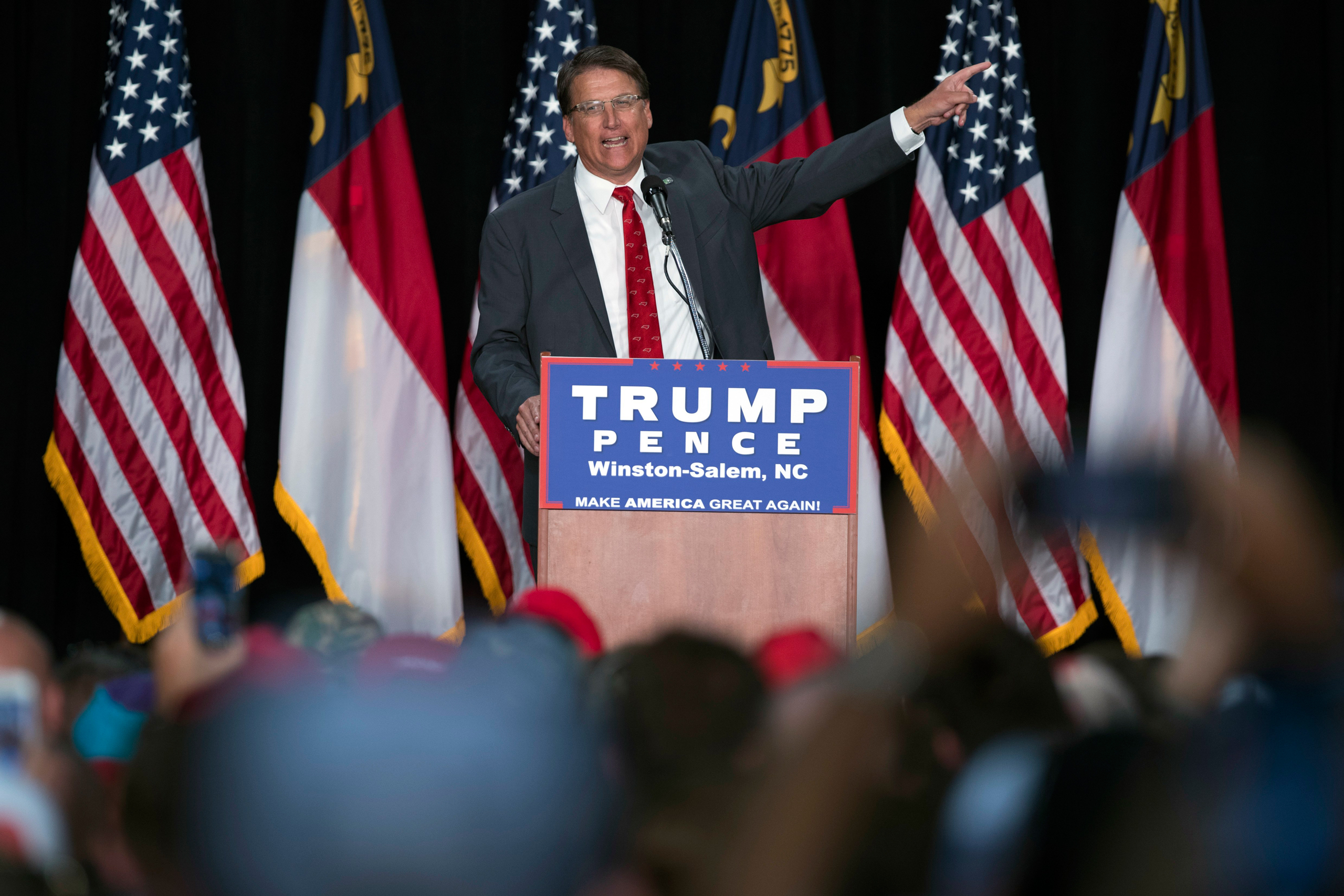 Gov. Pat McCrory speaks during a campaign rally supporting Republican presidential candidate Donald Trump  in Winston-Salem, N.C., on July 25, 2016.