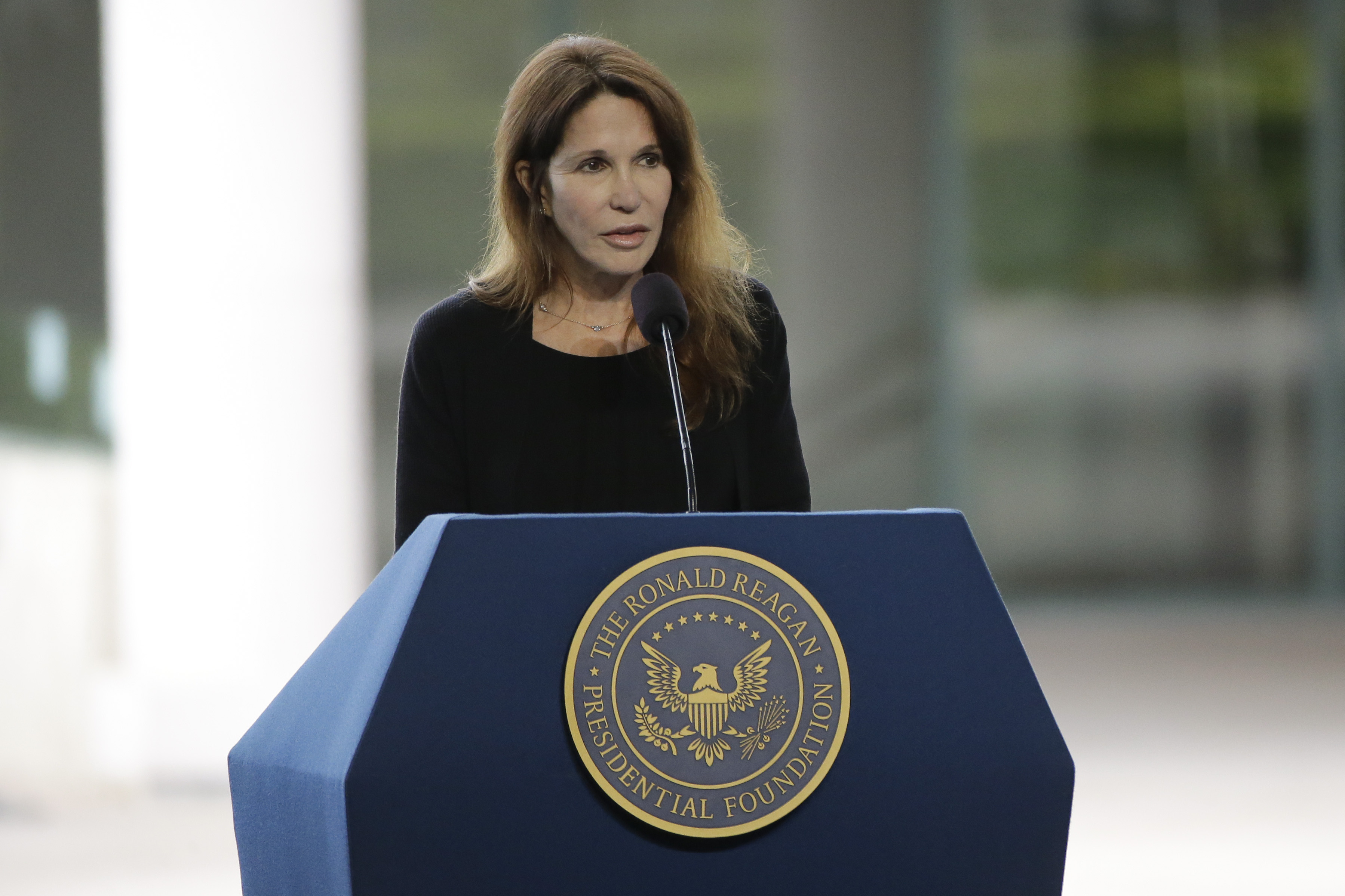 Patti Davis, daughter of late former President Ronald Reagan and Nancy Reagan speaks during the funeral service for the former First Lady at the Ronald Reagan Presidential Library March 11, 2016.
