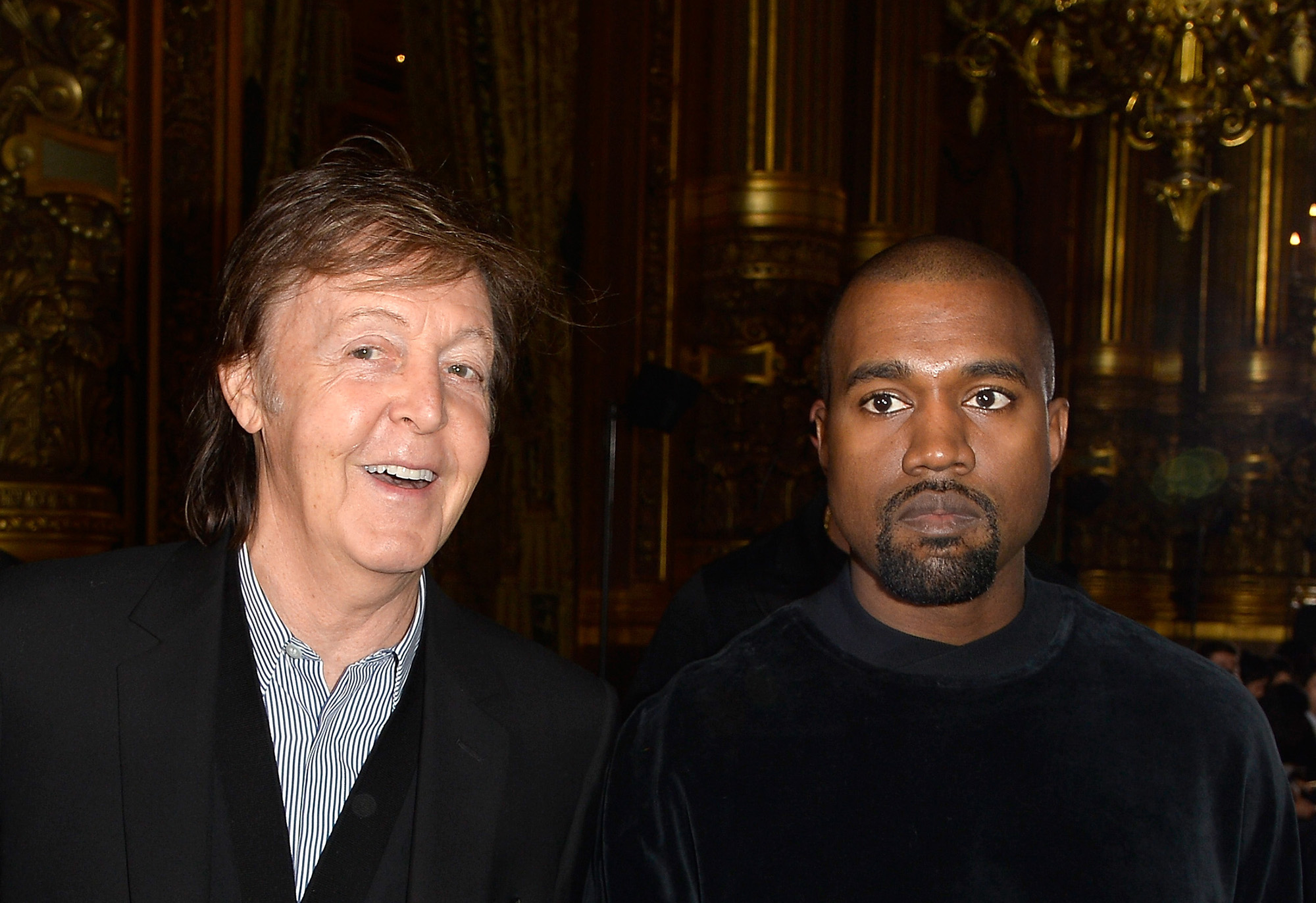 Paul McCartney and Kanye West attend the Stella McCartney show as part of the Paris Fashion Week Womenswear Fall/Winter 2015/2016 on March 9, 2015 in Paris, France.  (Photo by Pascal Le Segretain/Getty Images)