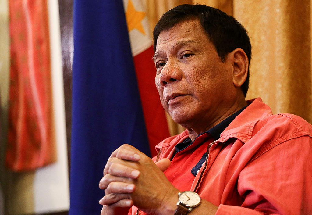 Philippine President Rodrigo Duterte speaks during a press conference in Davao City, in southern island of Mindanao on May 26, 2016.