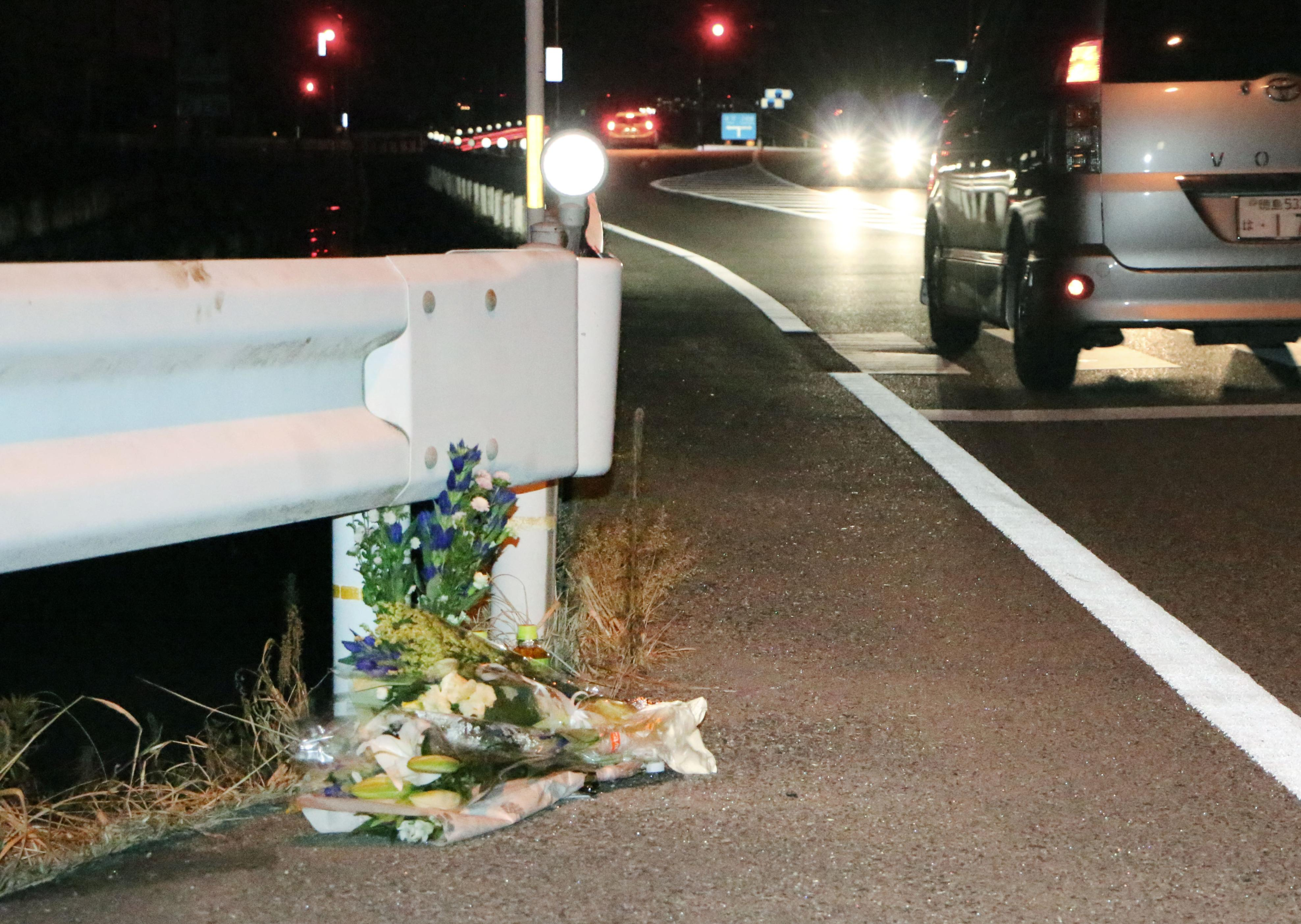 Flowers are laid in Tokushima, Japan, on Aug. 24, 2016, near the scene where a passer-by was killed in the first fatal accident in the country linked to a person playing the popular augmented-reality game  Pokemon Go  while driving.