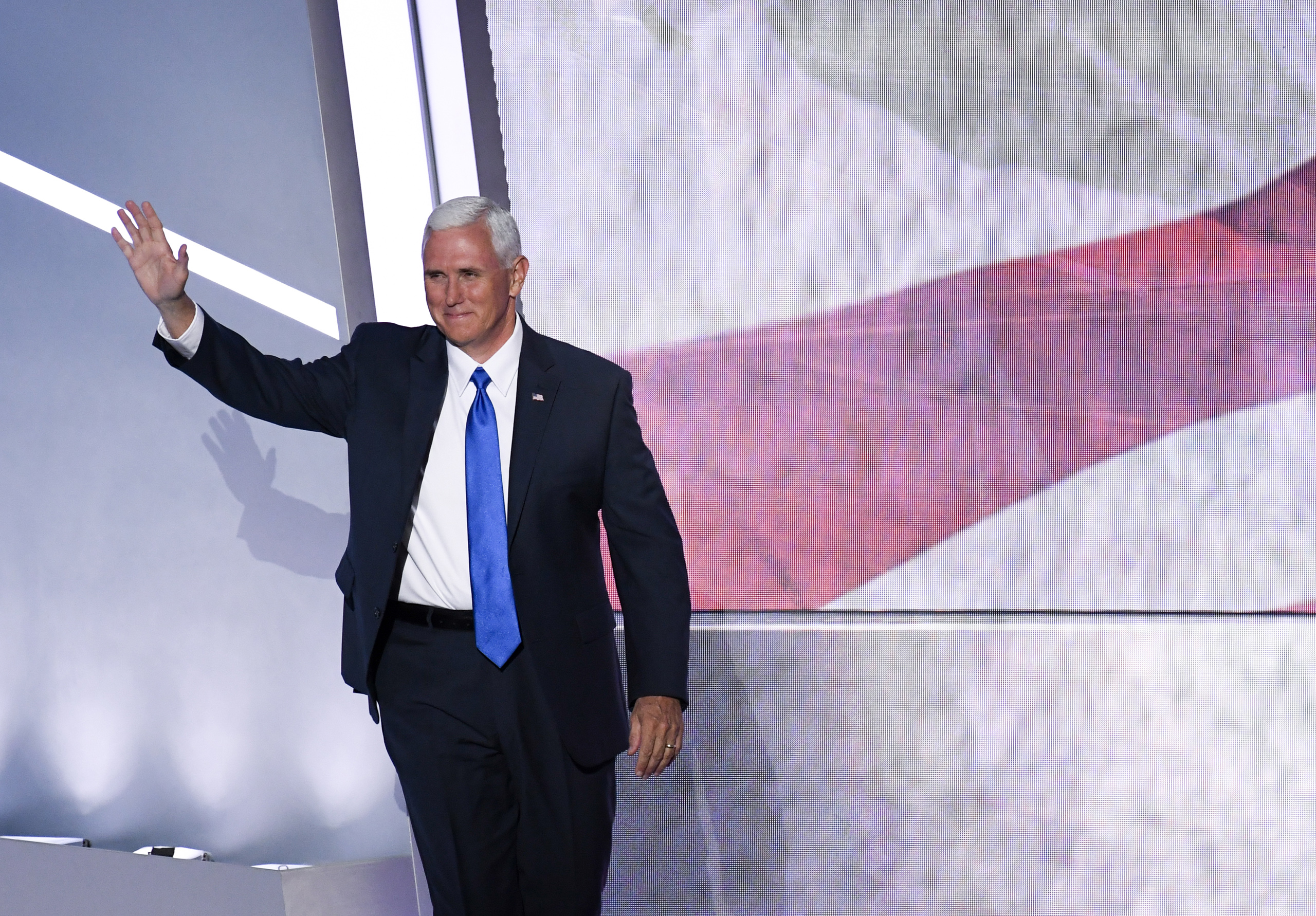Indiana Gov. Mike Pence, and Vice Presidential nominee, takes the stage to speak at the 2016 Republican National Convention in Cleveland on July 20, 2016.
