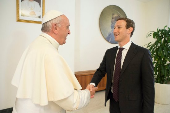 Pope Francis shakes hands with Facebook CEO Mark Zuckerberg during a meeting at the Vatican on Aug. 29, 2016.