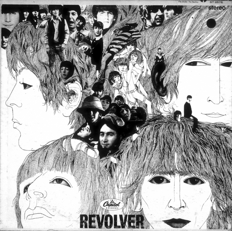 Album cover designed by artist Klaus Voorman for rock and roll band  The Beatles  album entitled  Revolver  which was released in August of 1966.