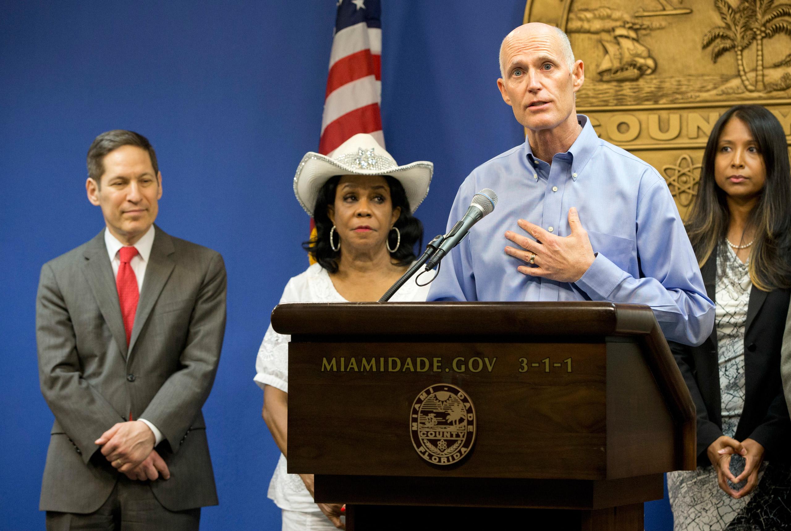 Florida Gov. Rick Scott speaks during a news conference in Doral, Fla. on Aug. 4, 2016.