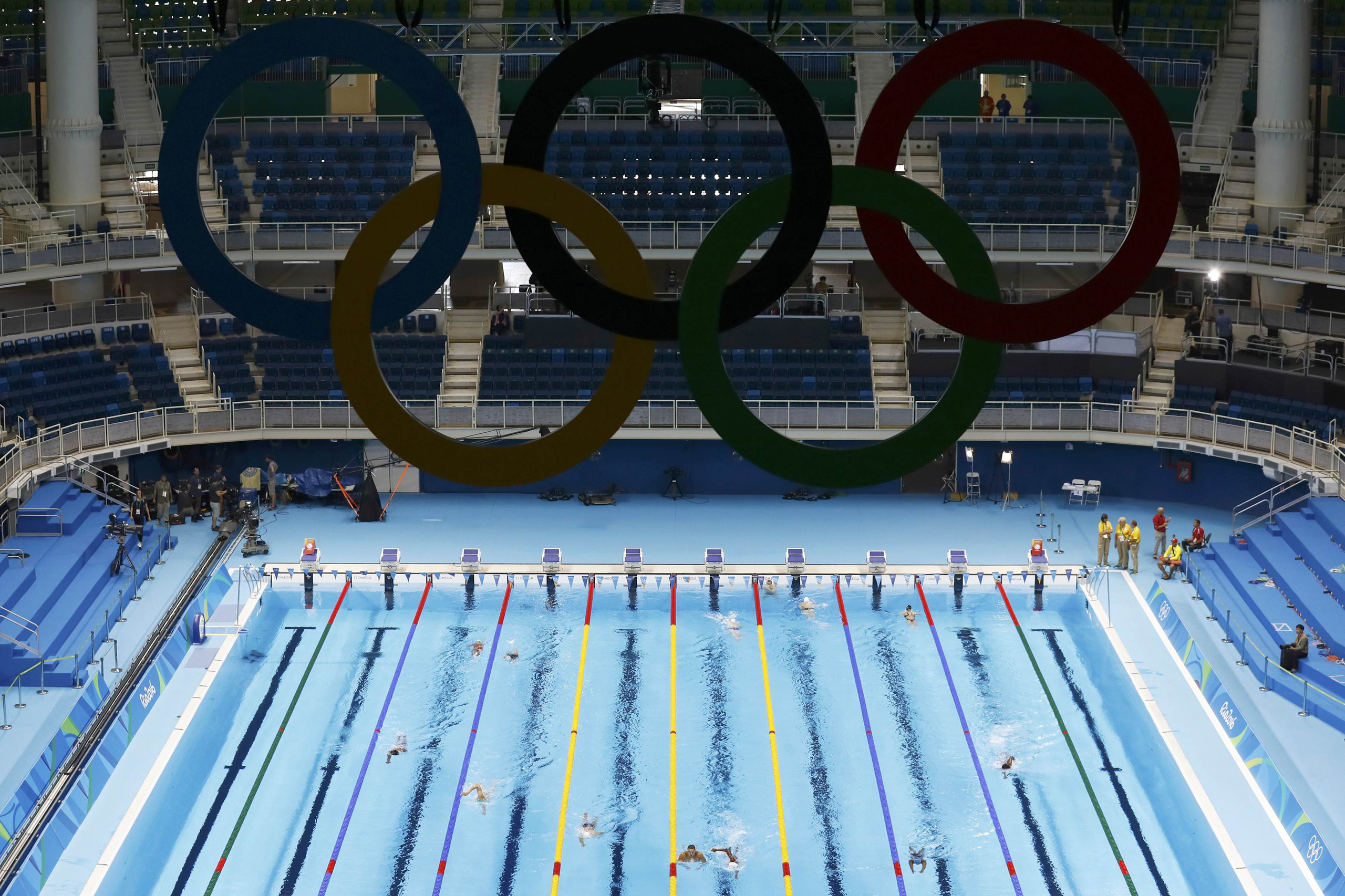 General view of the Olympic swimming venue in Rio de Janeiro on Aug. 02, 2016.