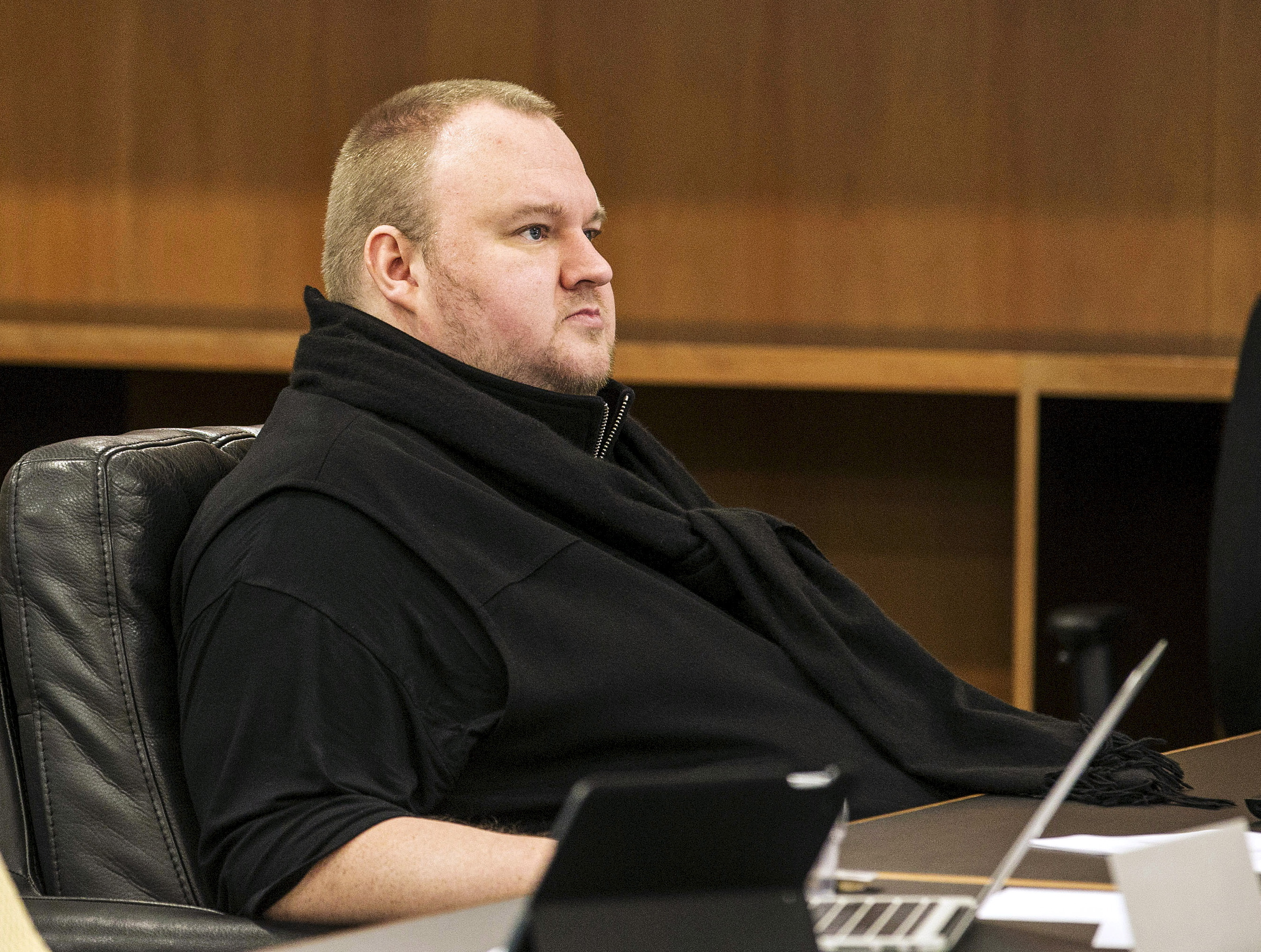 German tech entrepreneur Kim Dotcom attends a court hearing in Auckland on Sept. 21, 2015