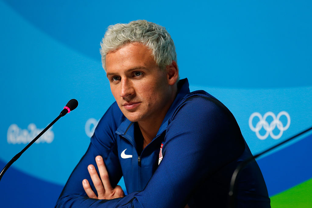 Ryan Lochte attends a press conference in the Main Press Centre on Day 7 of the Rio Olympics on August 12, 2016 in Rio de Janeiro, Brazil.