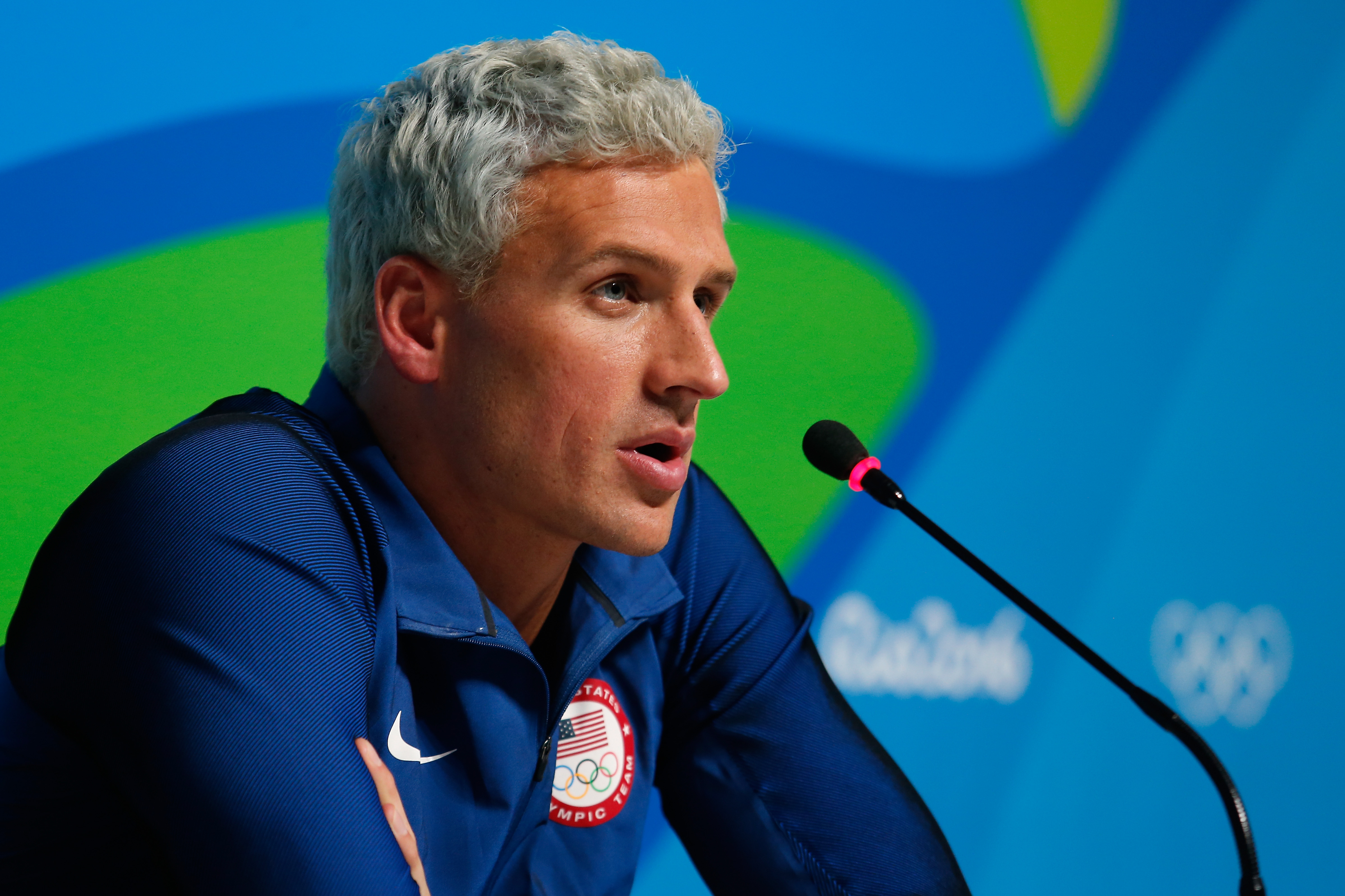 Ryan Lochte of the United States attends a press conference in the Main Press Center on Day 7 of the Rio Olympics on Aug. 12, 2016 in Rio de Janeiro, Brazil.