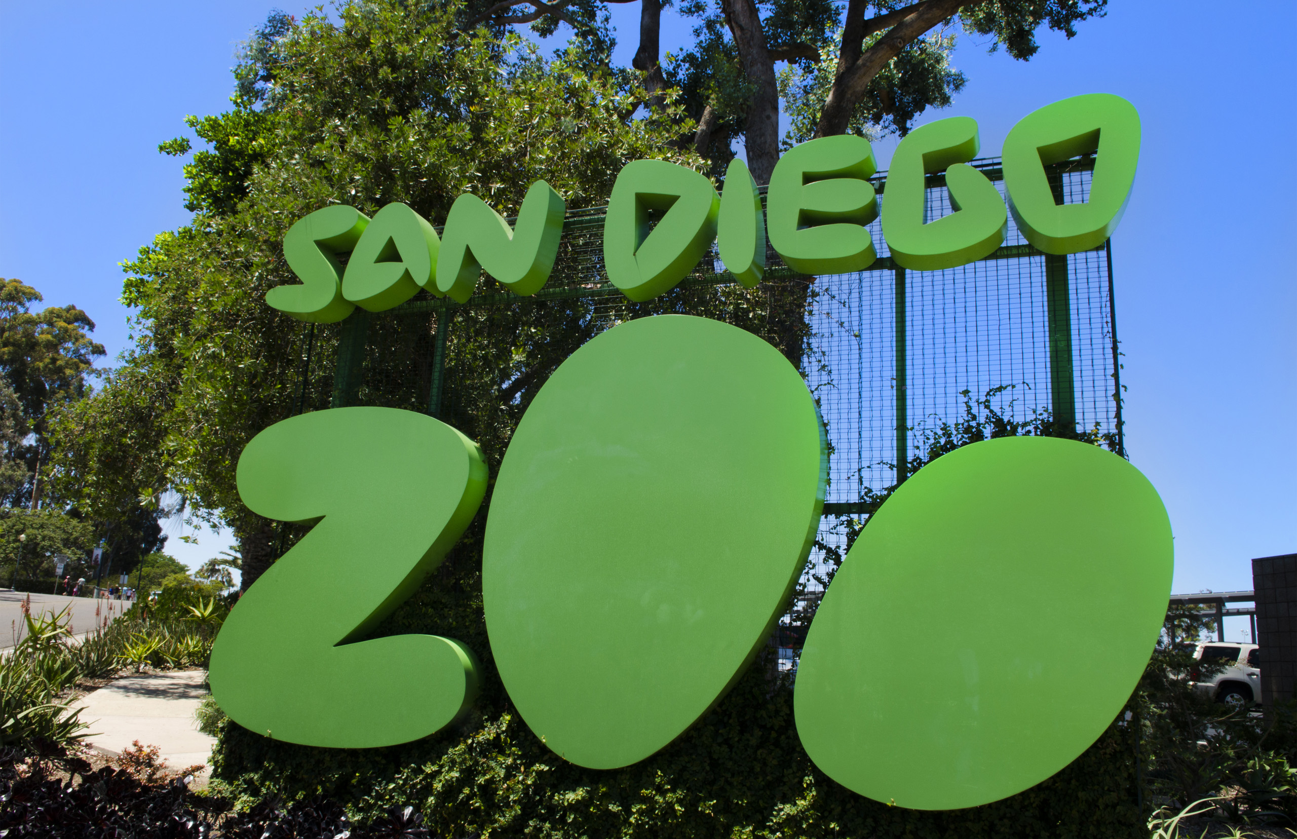 Famous San Diego Zoo sign in Balboa Park in San Diego.