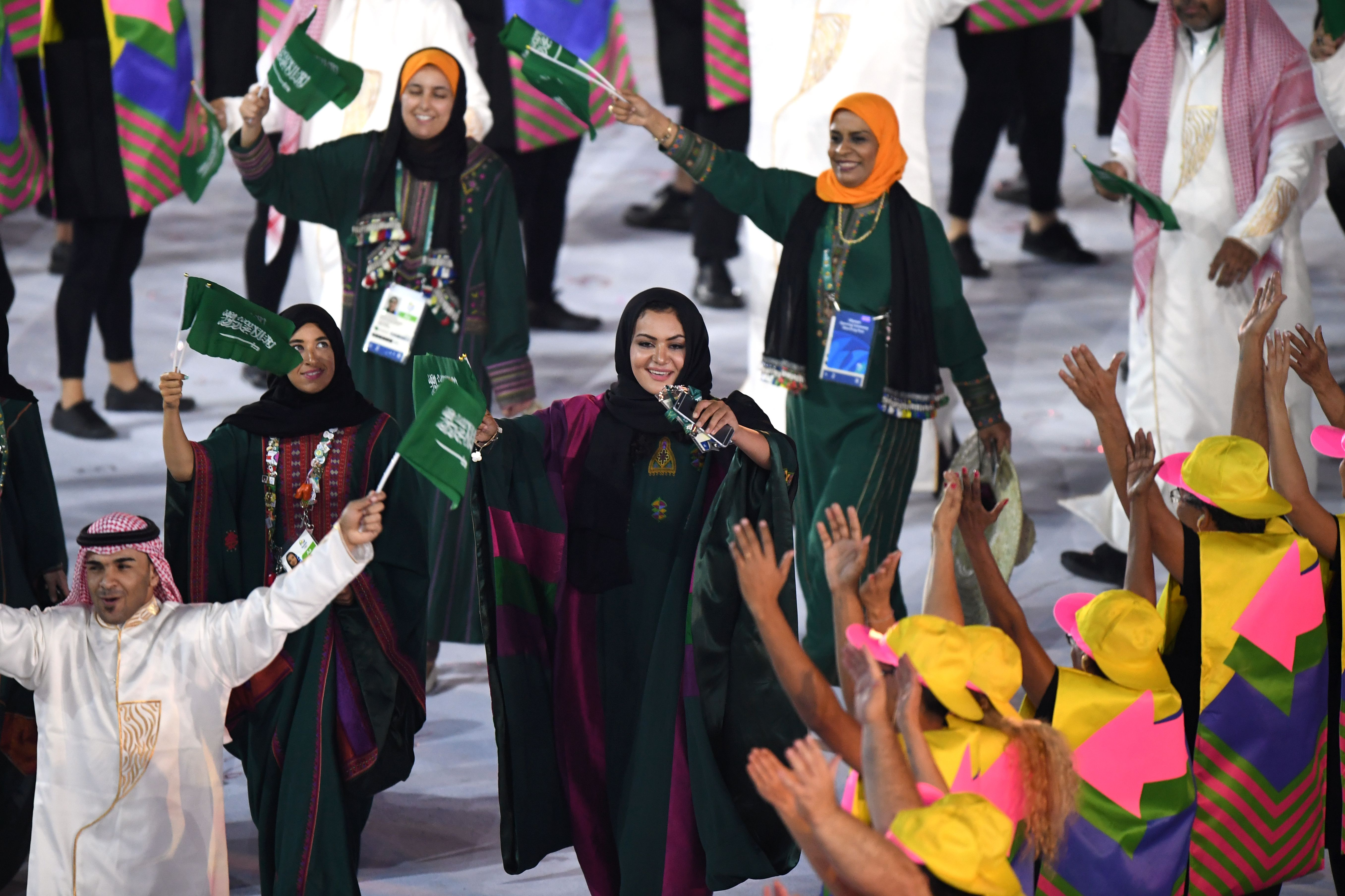 Saudi Arabia's delegation parades during the opening ceremony of the Rio 2016 Olympic Games at the Maracana stadium in Rio de Janeiro on August 5, 2016.