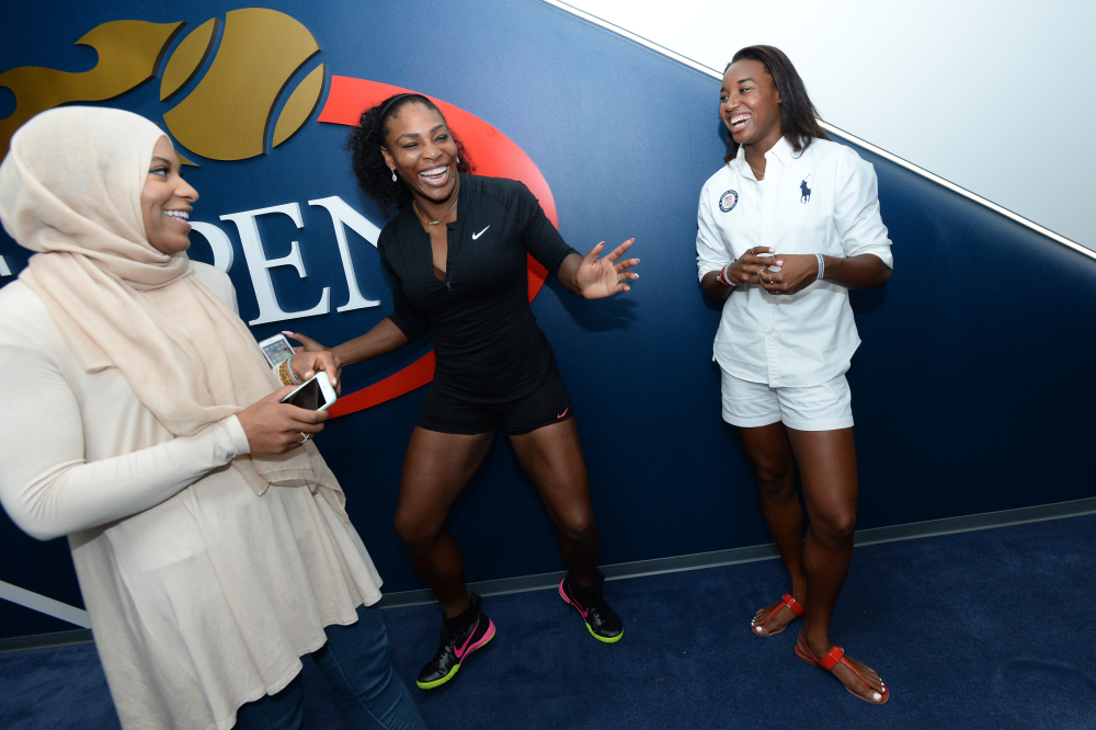 August 30, 2016 - Olympic Fencer Ibtihaj Muhammad, Serena Williams and Olympic swimmer Simone Manuel  at the USTA Billie Jean King National Tennis Center in Flushing, NY.