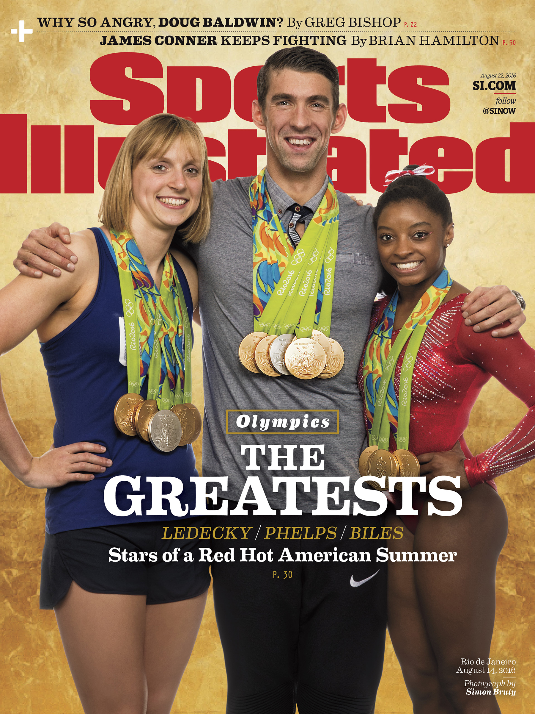Michael Phelps, Katie Ledecky and Simone Biles took time out to pose together for a very special Sports Illustrated cover