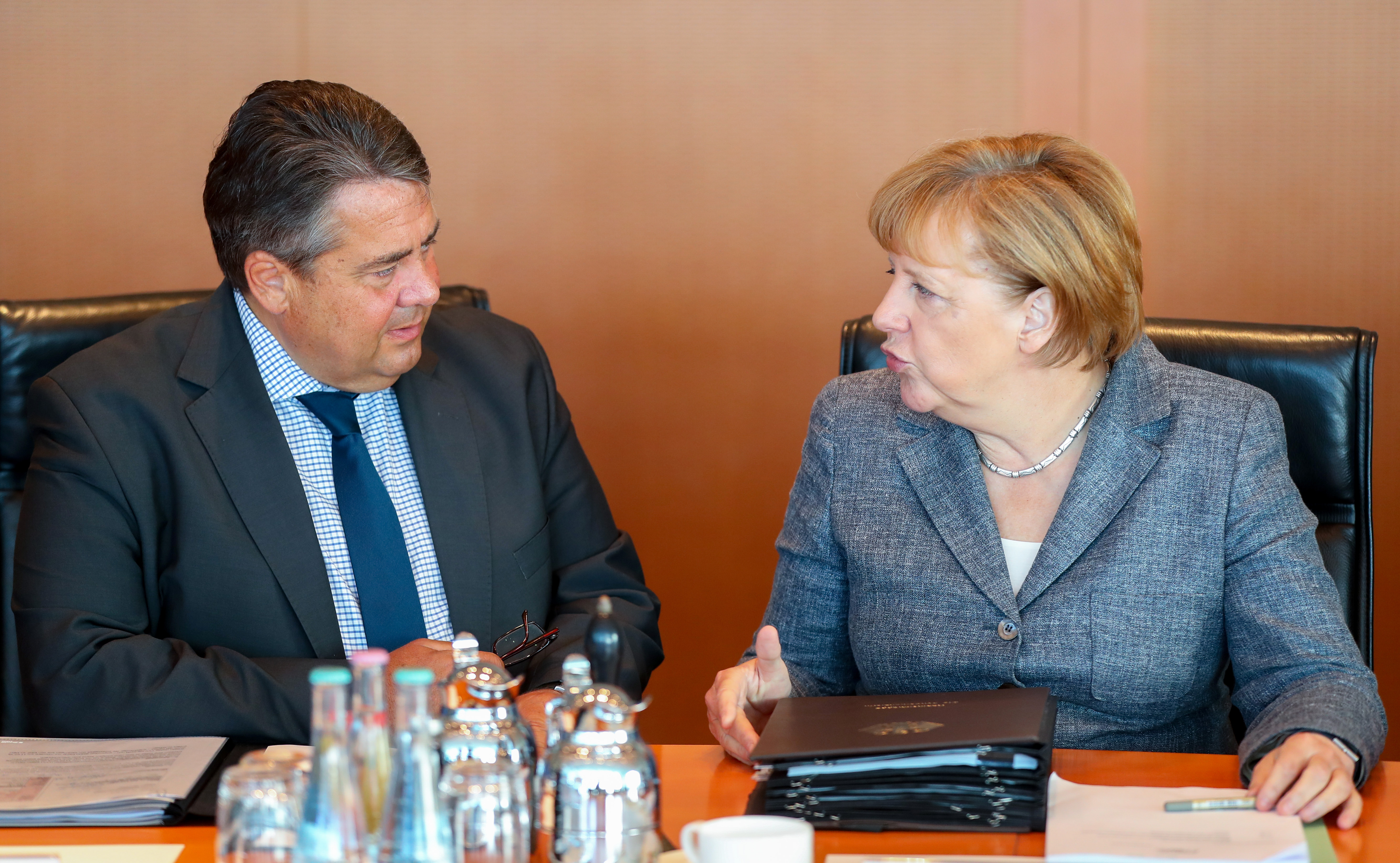 Footage has emerged of Germany's vice-chancellor Sigmar Gabriel giving the middle finger to a group of far-right protestors in Lower Saxony last Friday (file photo)