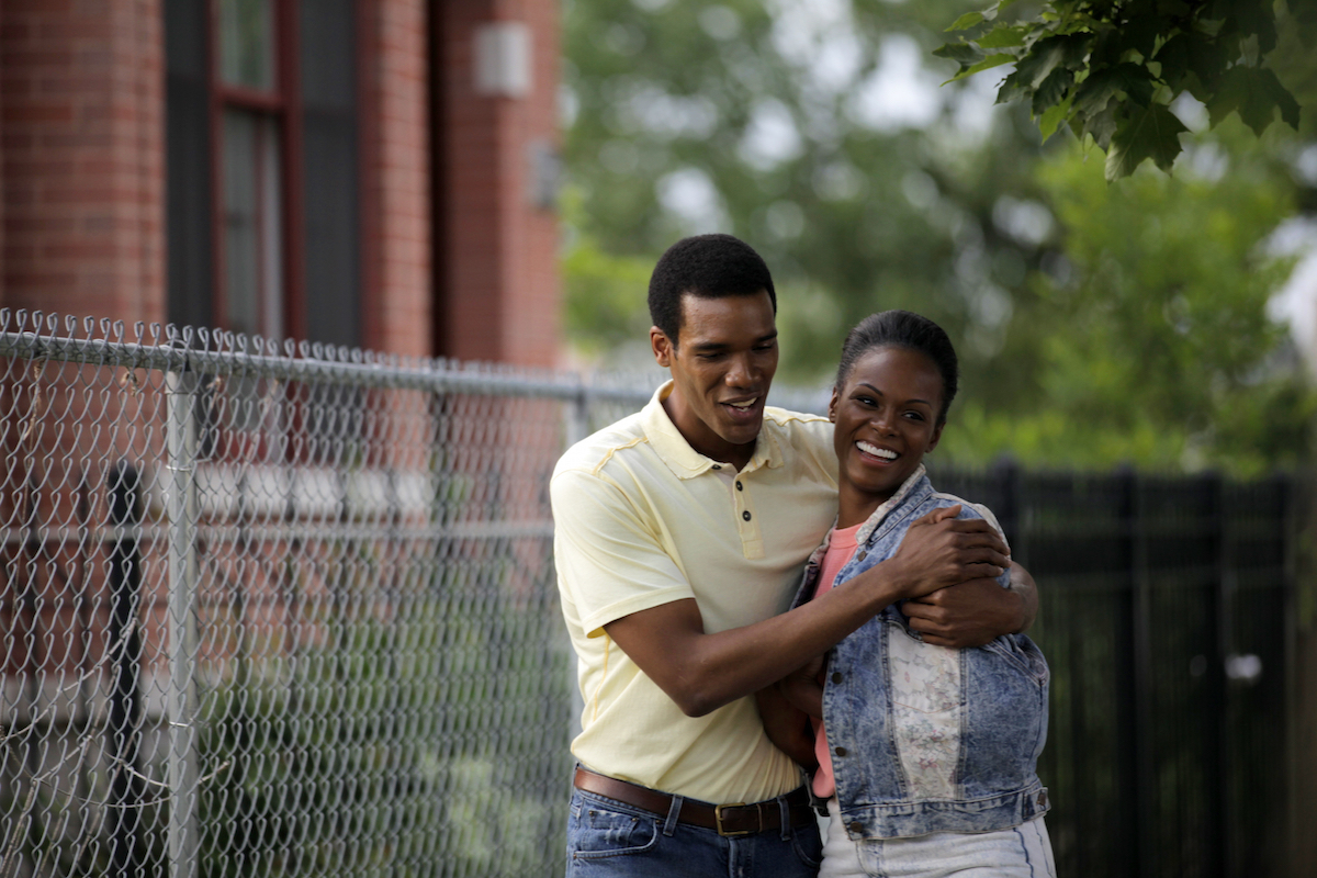 Tika Sumpter, right, and Parker Sawyers in a scene from  Southside With You.