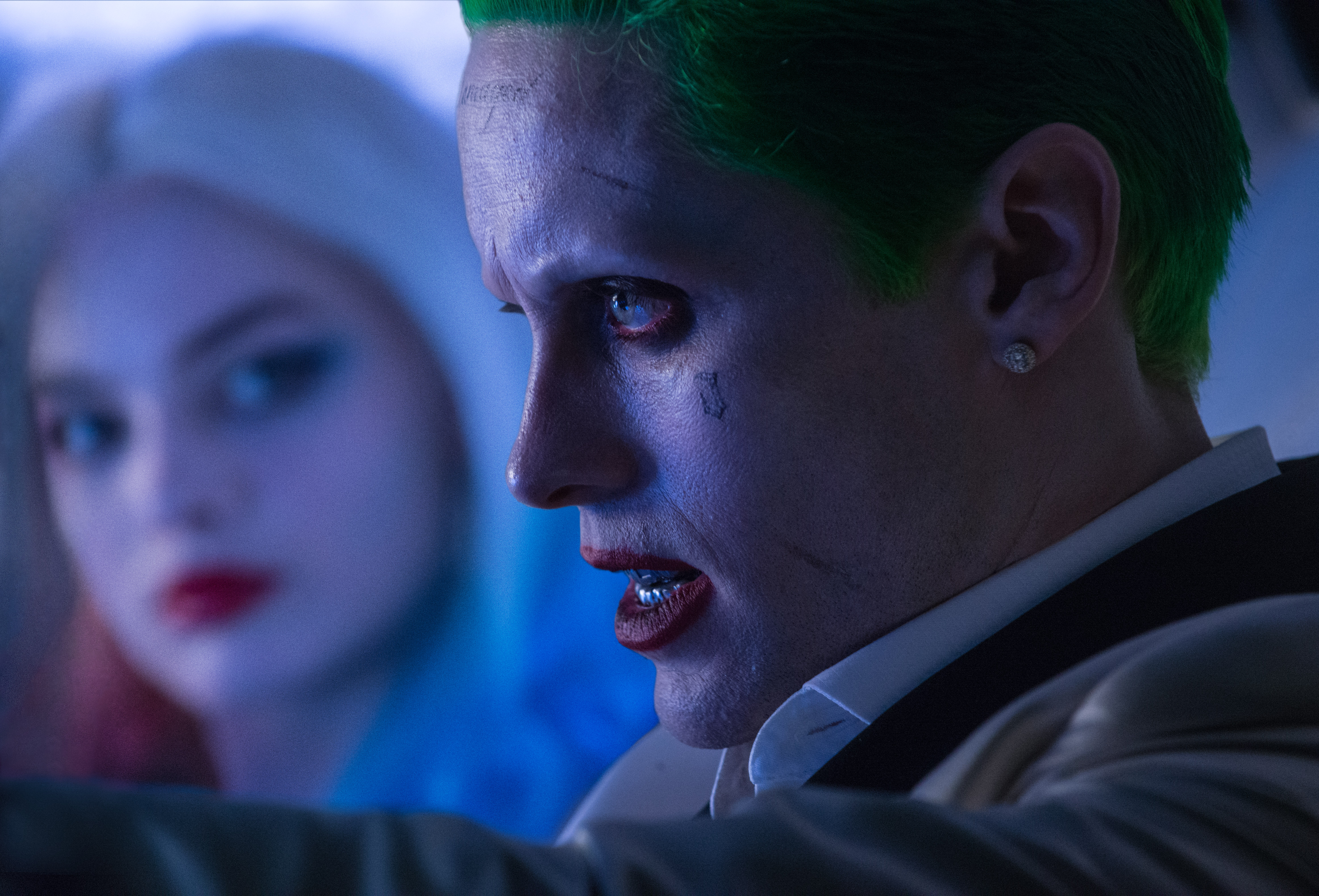 Jared Leto as the Joker and Margot Robbie as Harley Quinn in Suicide Squad