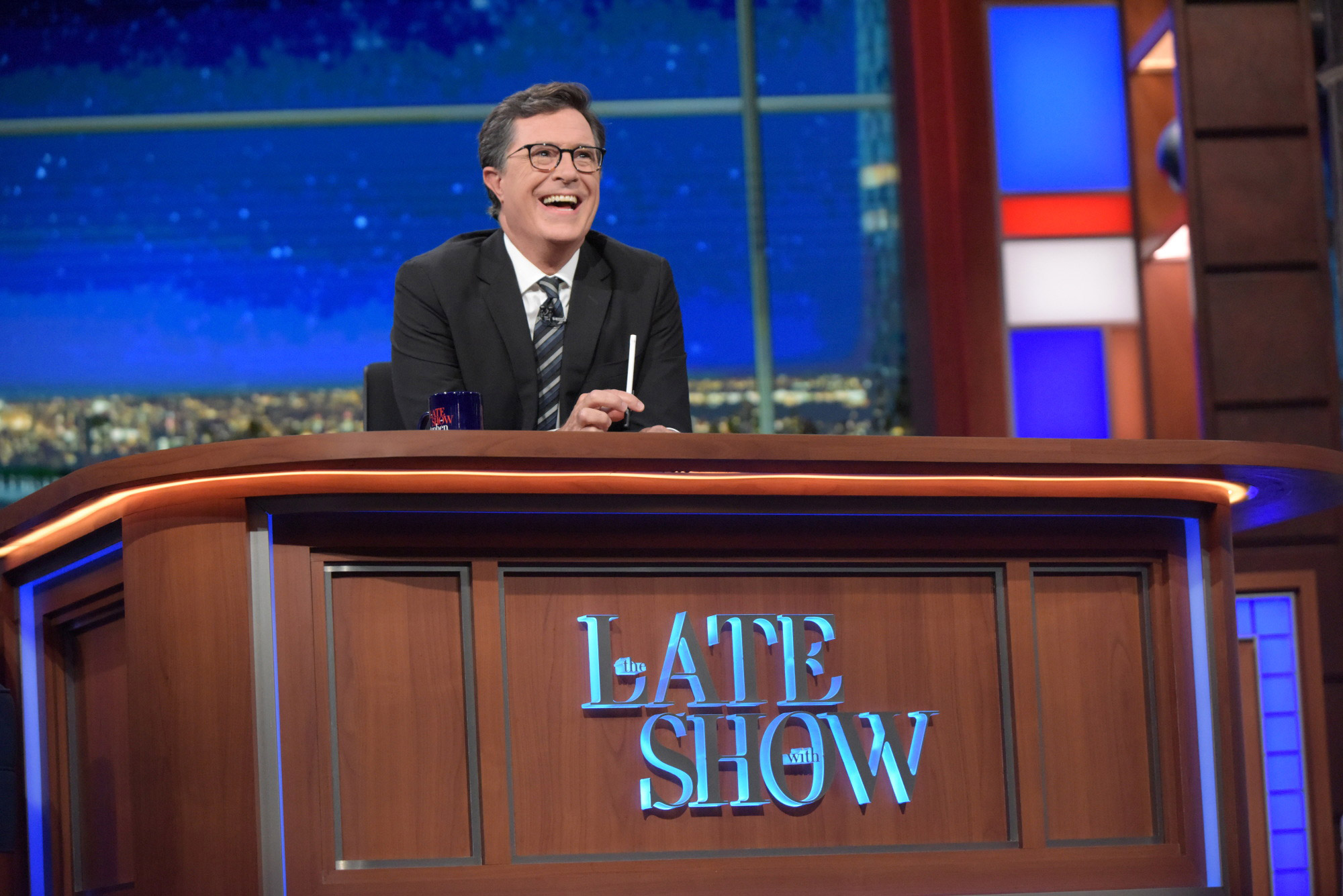 The Late Show  with Stephen Colbert airing live in New York.