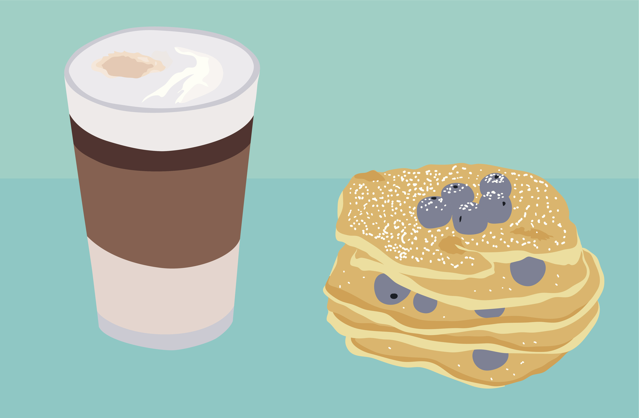 pancake and coffee latte vector illustration