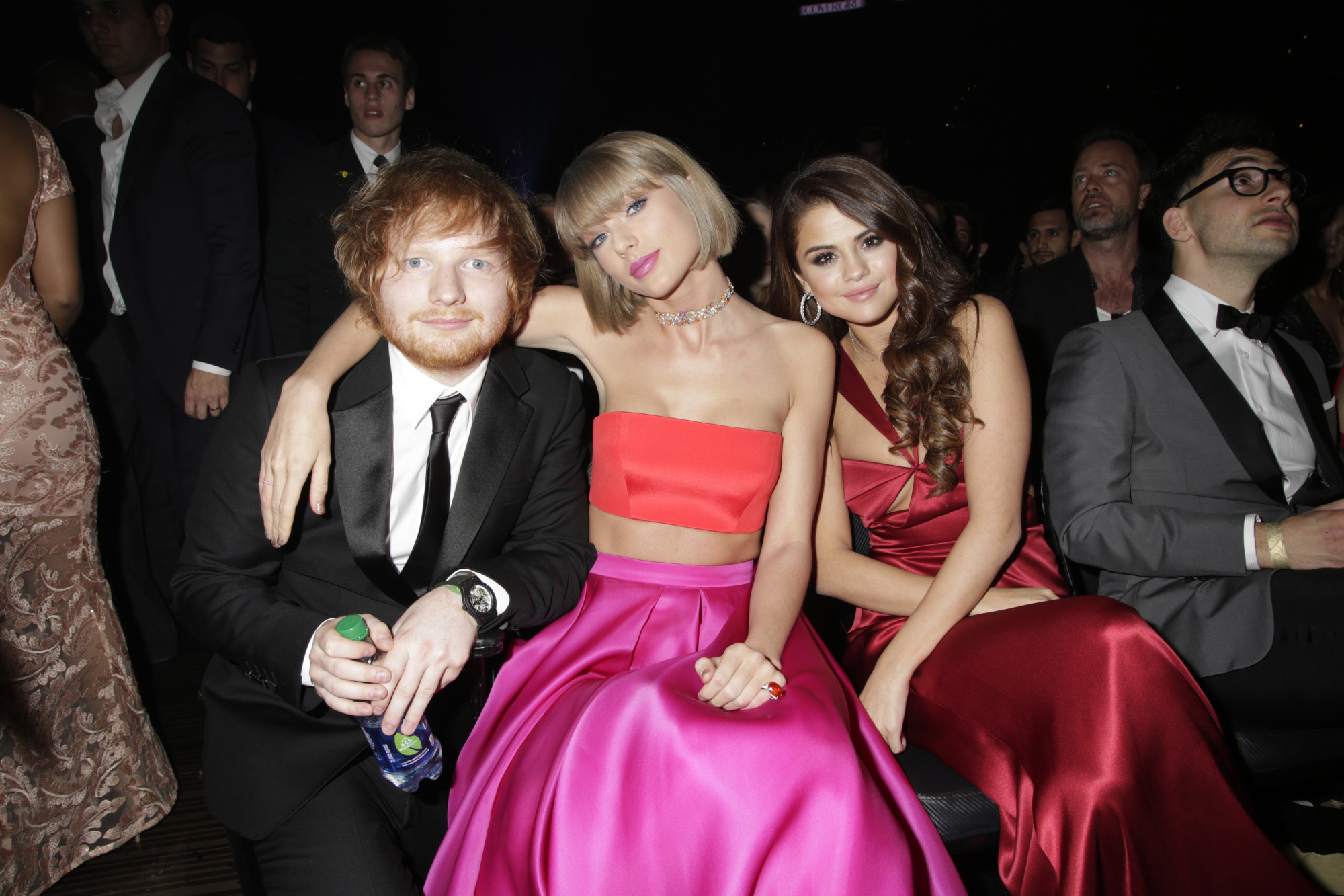 Ed Sheeran, Taylor Swift, and Selena Gomez in the audience at The 58TH ANNUAL GRAMMY AWARDS on Monday, Feb. 15, 2016 (8:00-11:30 PM, live ET) at STAPLES Center in Los Angeles and broadcast on the CBS Television Network. (Photo by Francis Specker/CBS via Getty Images)