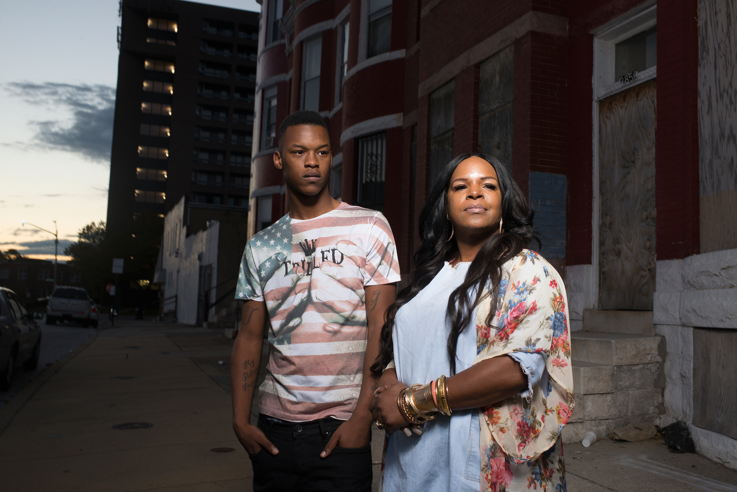 Michael Singleton and his mother Toya Graham outside their home in Baltimore on Oct. 14, 2015.