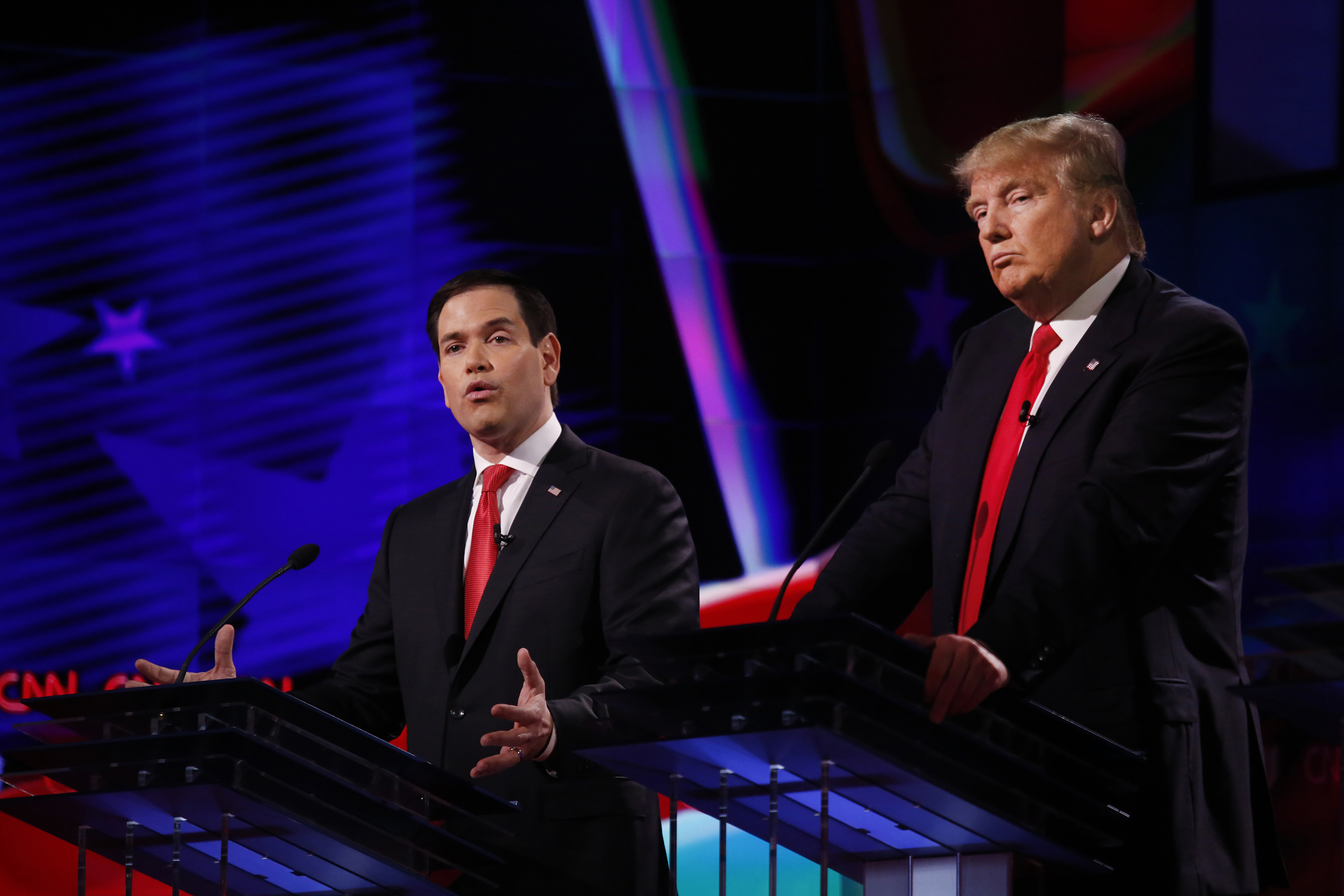 The four remaining Republican primary candidates Marco Rubio and Donald Trump debate at the University of Miami on March 10, 2016.