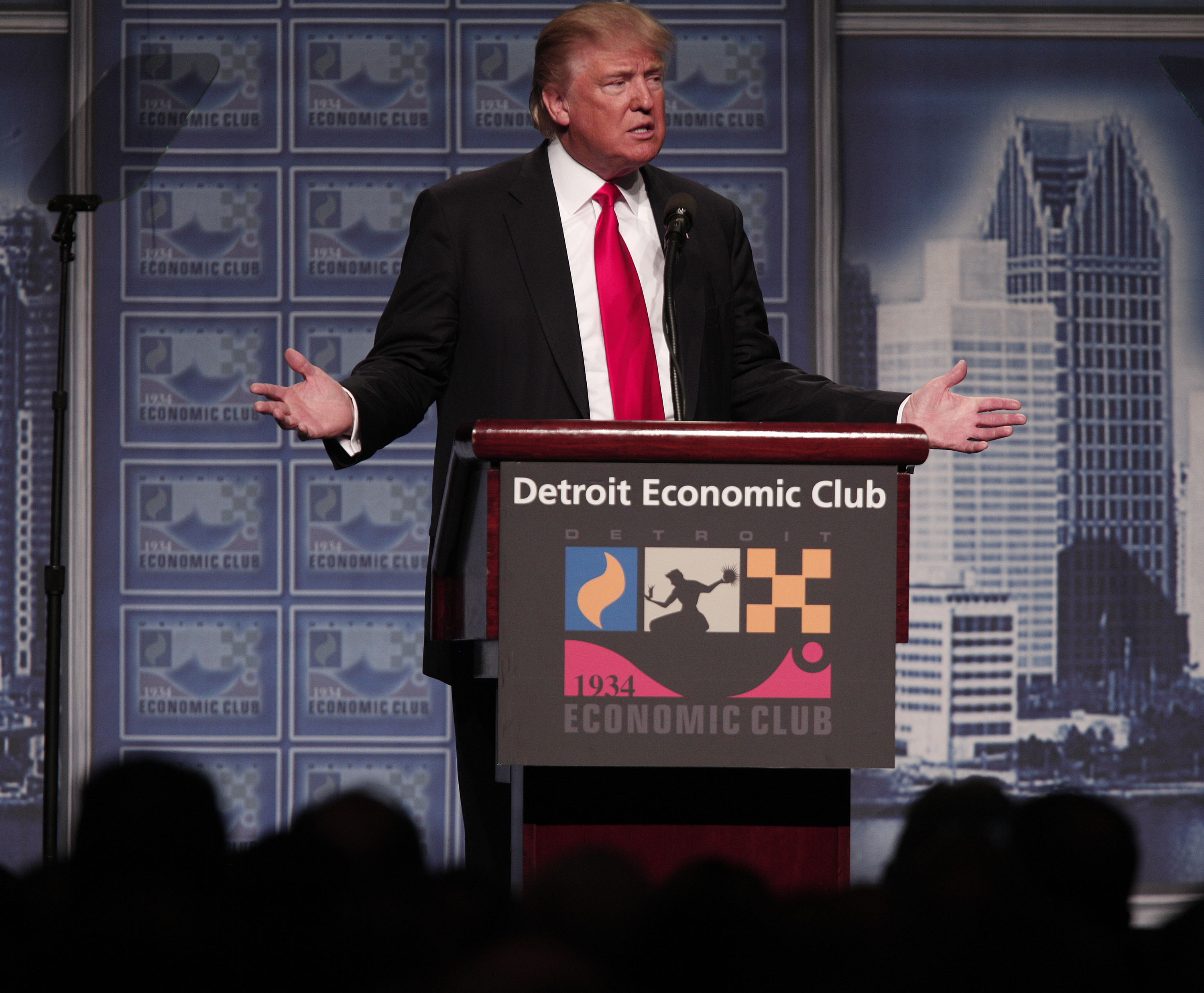 Republican presidential candidate Donald Trump delivers an economic policy address detailing his economic plan at the Detroit Economic Club in Detroit on Aug. 8, 2016.