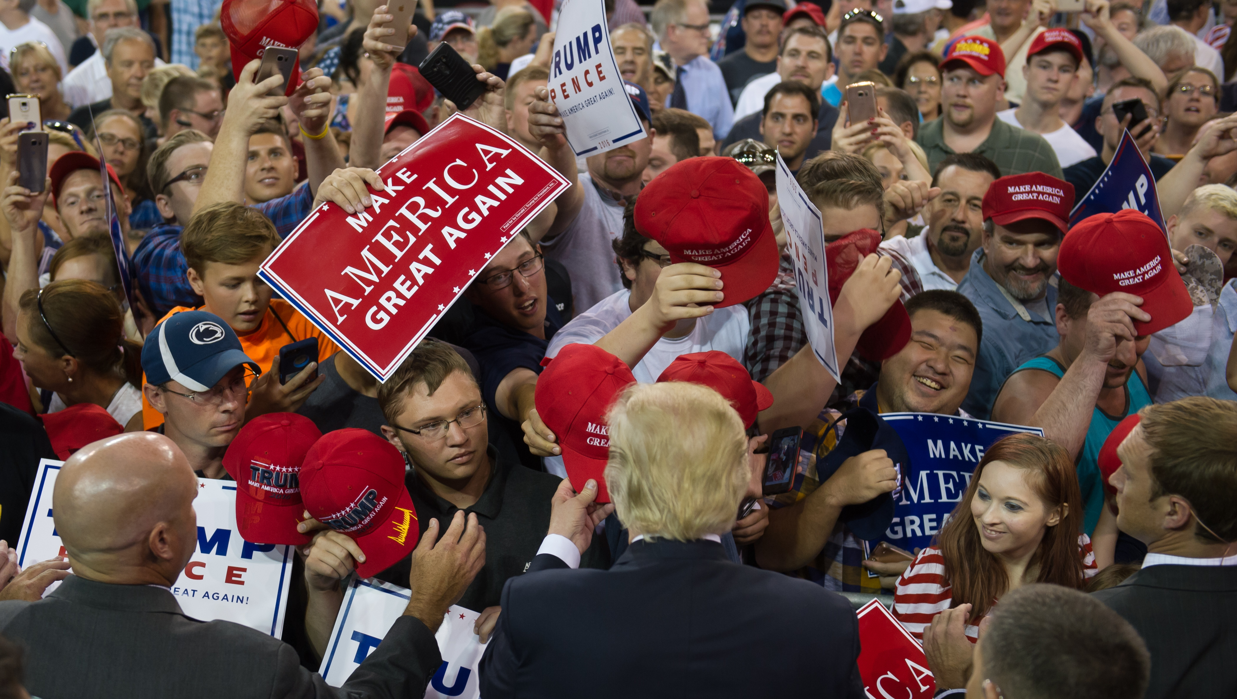 Republican candidate for President Donald Trump speaks to supporters at a rally at Erie Insurance Arena in Erie, Penn., on Aug. 12, 2016.