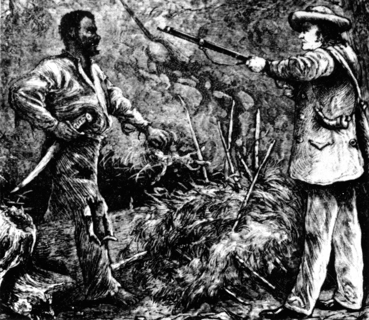 Illustration (19th-century) of the discovery of Nat Turner following the failure of his rebellion