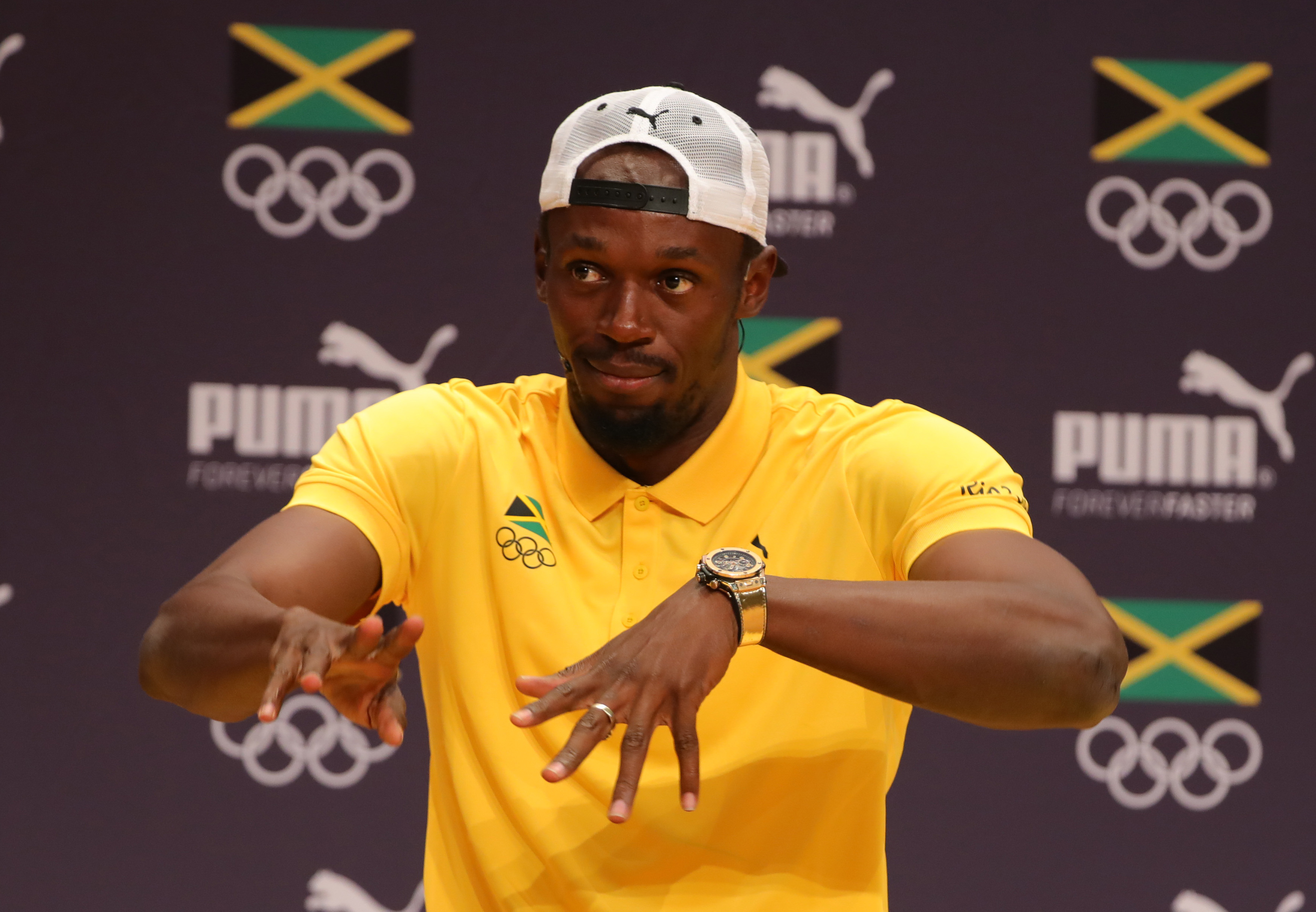 Athlete Usain Bolt of Jamaica attends a press conference of the Jamaican Olympic Association and PUMA in Barra during the Rio 2016 Olympic Games in Rio de Janeiro, on Aug. 6