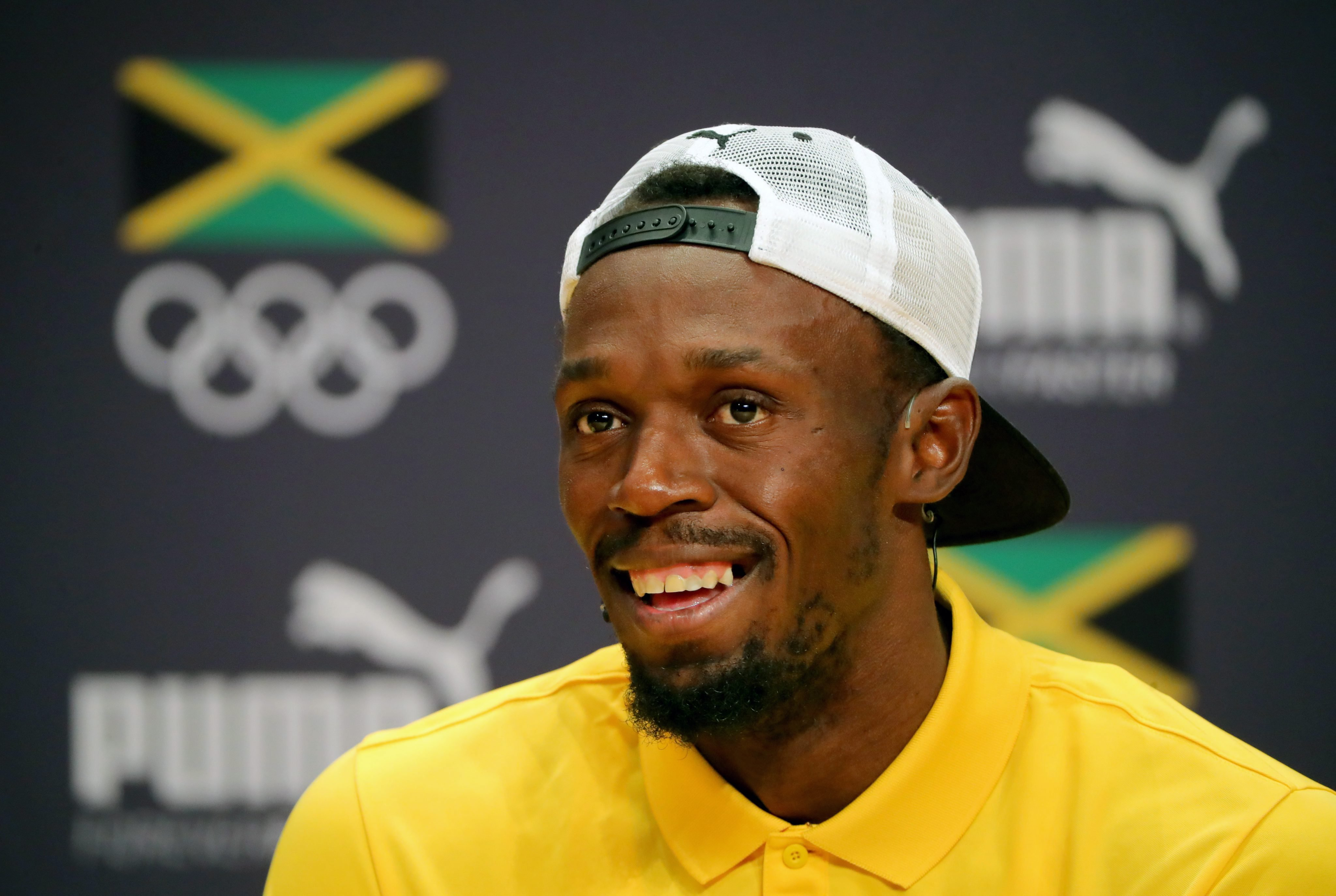 Usain Bolt attends a press conference during the Rio 2016 Olympic Games, on Aug. 8, 2016.