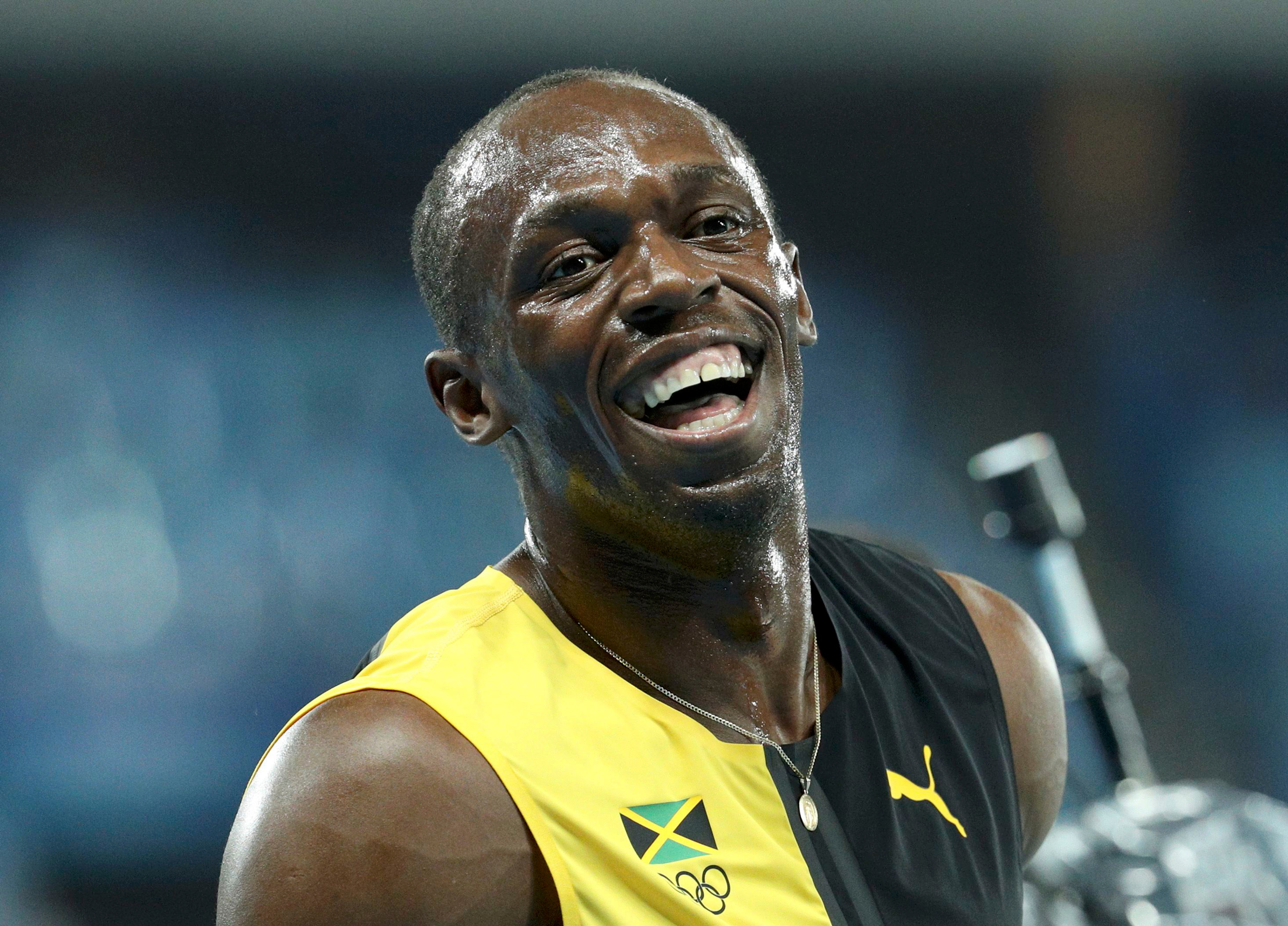 Jamaica's Usain Bolt celebrates winning the gold medal in the men's 4x100-meter relay final during the athletics competitions of the 2016 Summer Olympics at the Olympic stadium in Rio de Janeiro on Aug. 19, 2016.