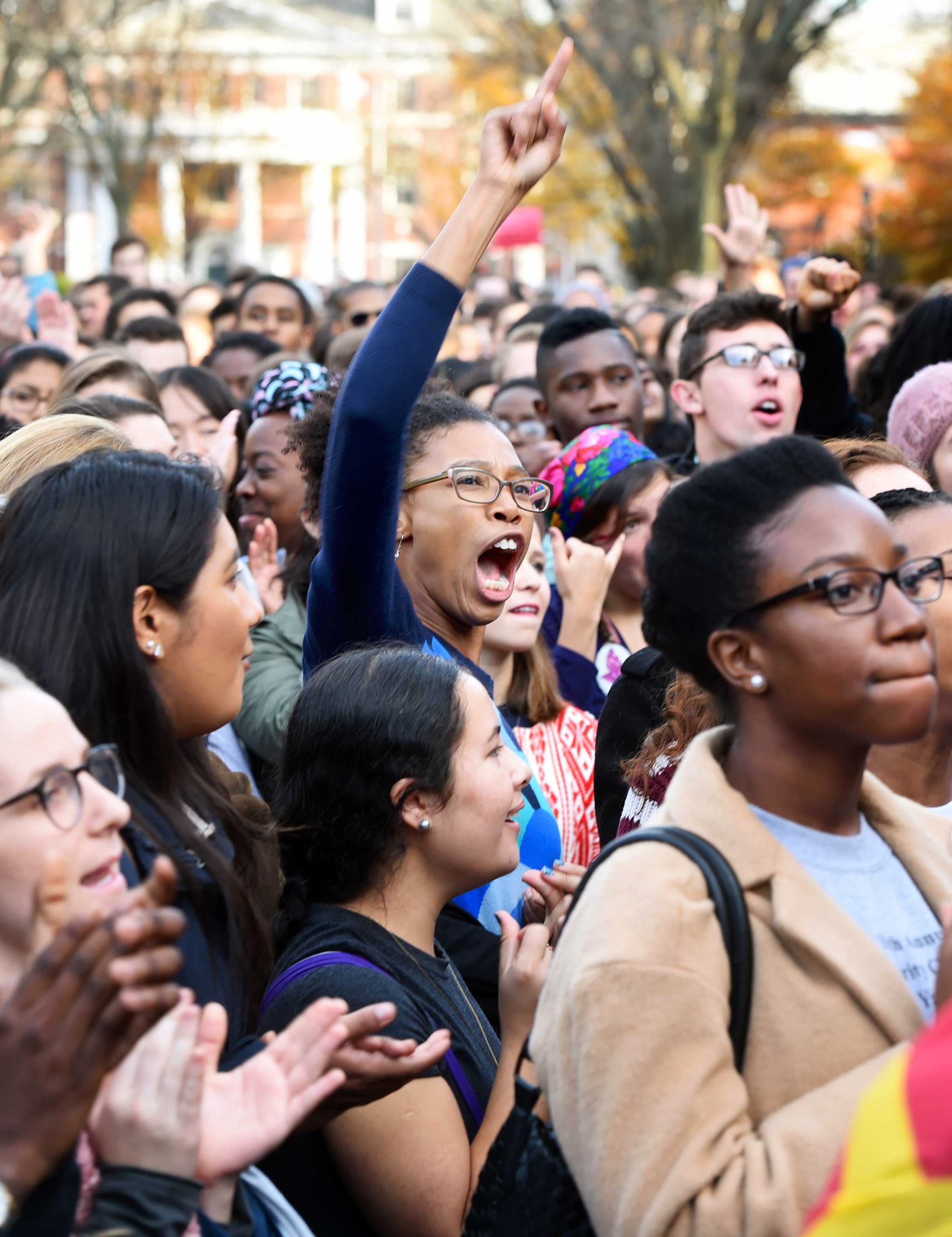 Yale students at a protest against racial insensitivity last November