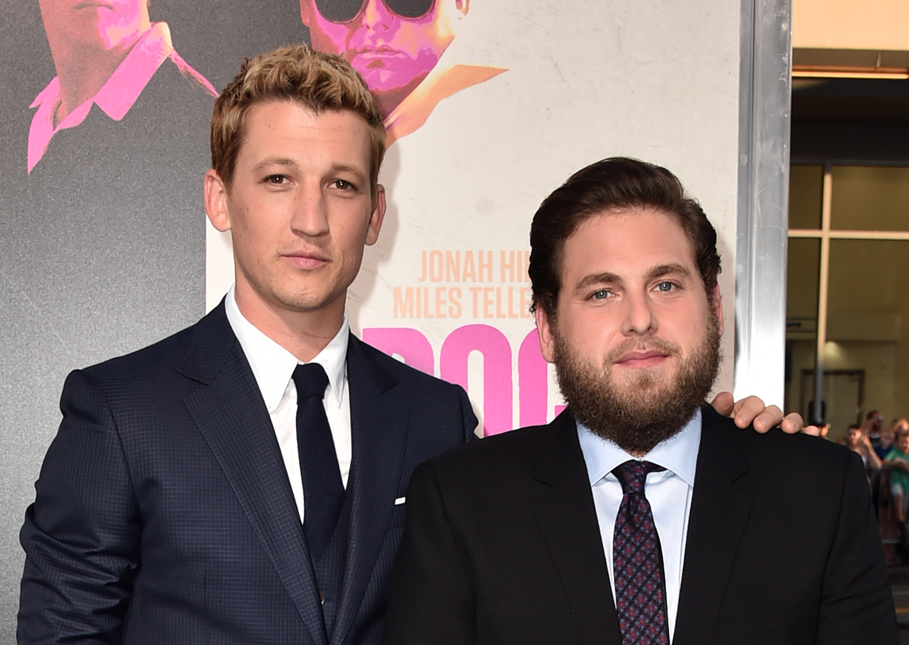 Actors Miles Teller (L) and Jonah Hill attend the premiere of Warner Bros. Pictures'  War Dogs  at TCL Chinese Theatre on August 15, 2016 in Hollywood, California.