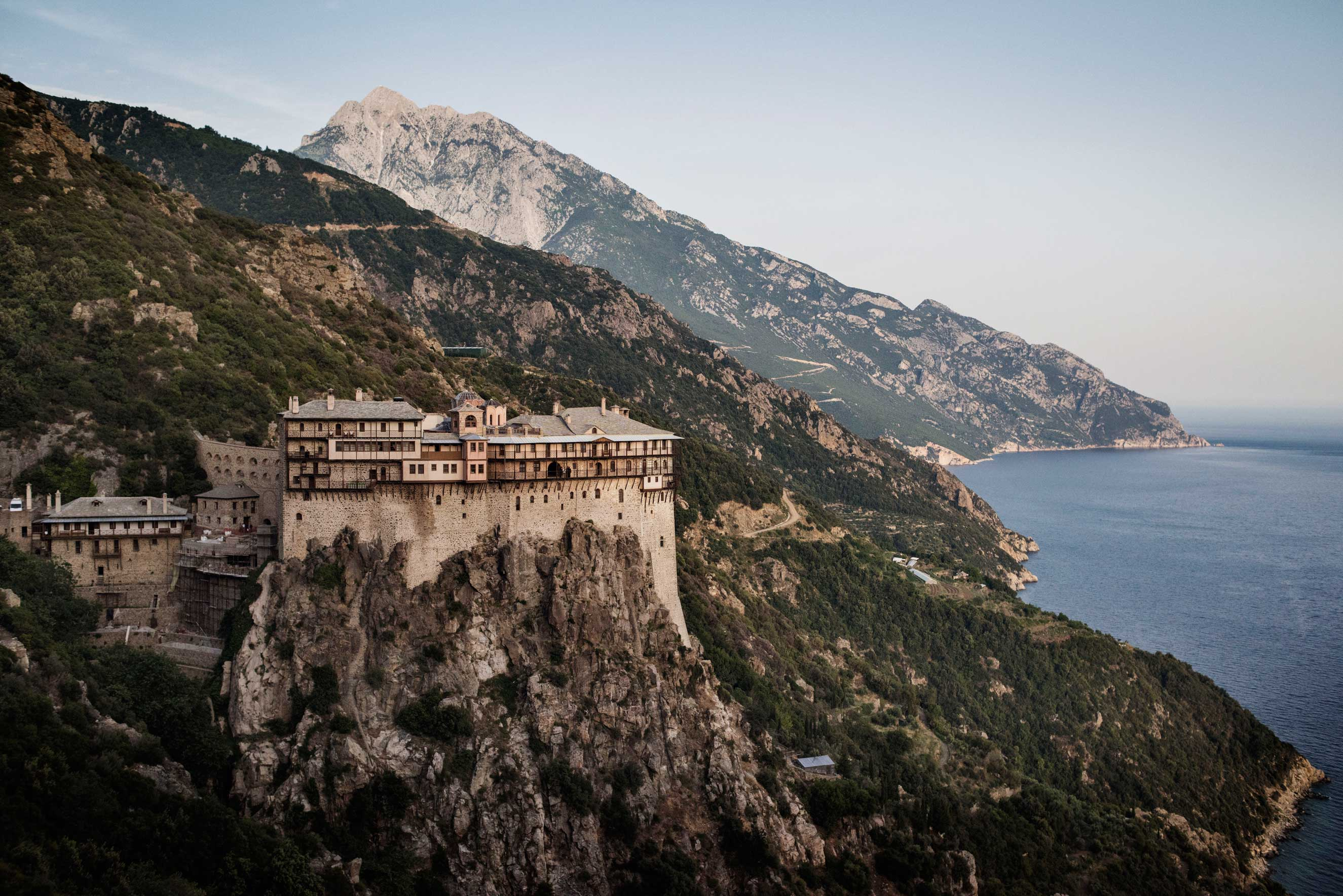 The Simonopetra Monastery sits above the Aegean Sea on the Mount Athos peninsula