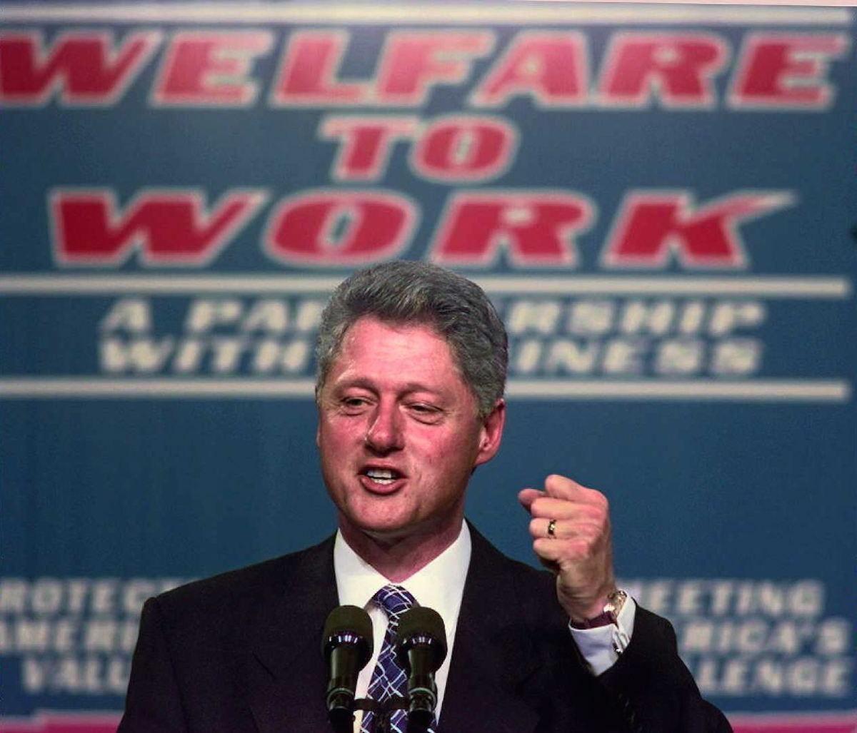 President Bill Clinton clinches his fist during an Oct. 27, 1996, speech on welfare reform at Vanderbilt University Medical Center in Nashville