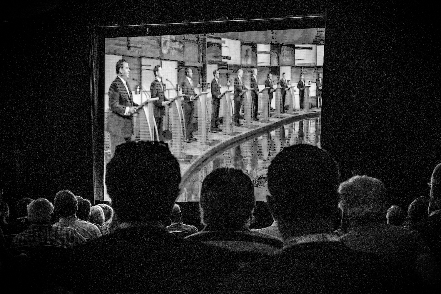 Attendees at the RedState Gathering watch the first 2016 Republican presidential debate,                               which took place in Cleveland, Ohio. Atlanta, Georgia, Aug. 6, 2016.