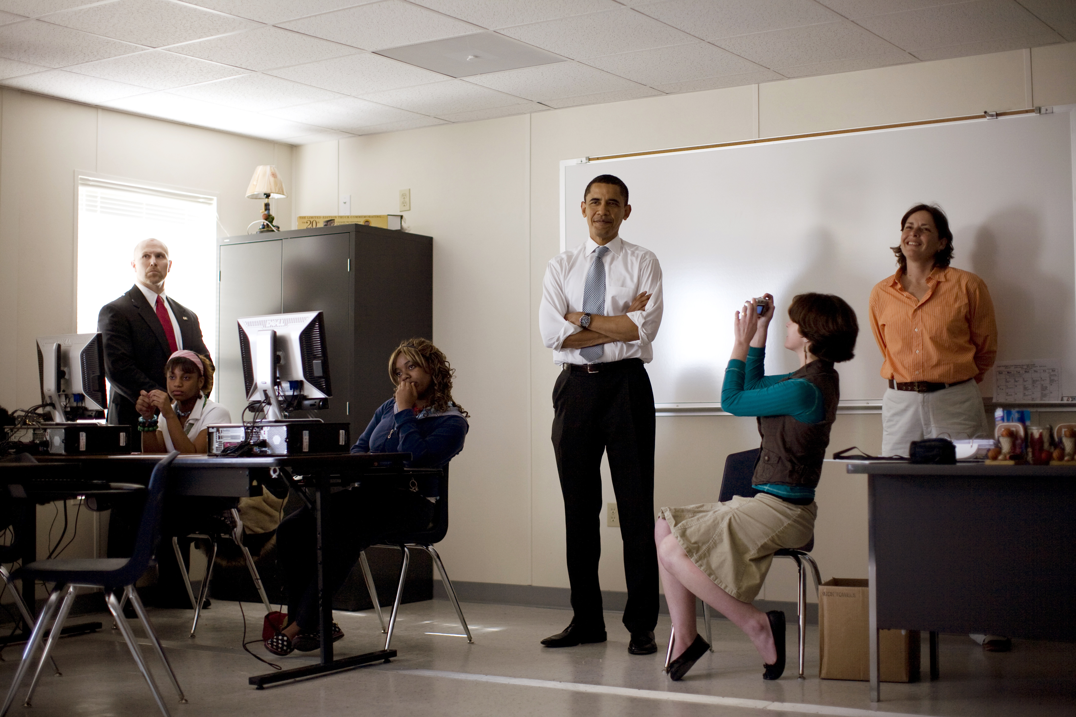 Obama campaigns in a New Orleans school, 2008.