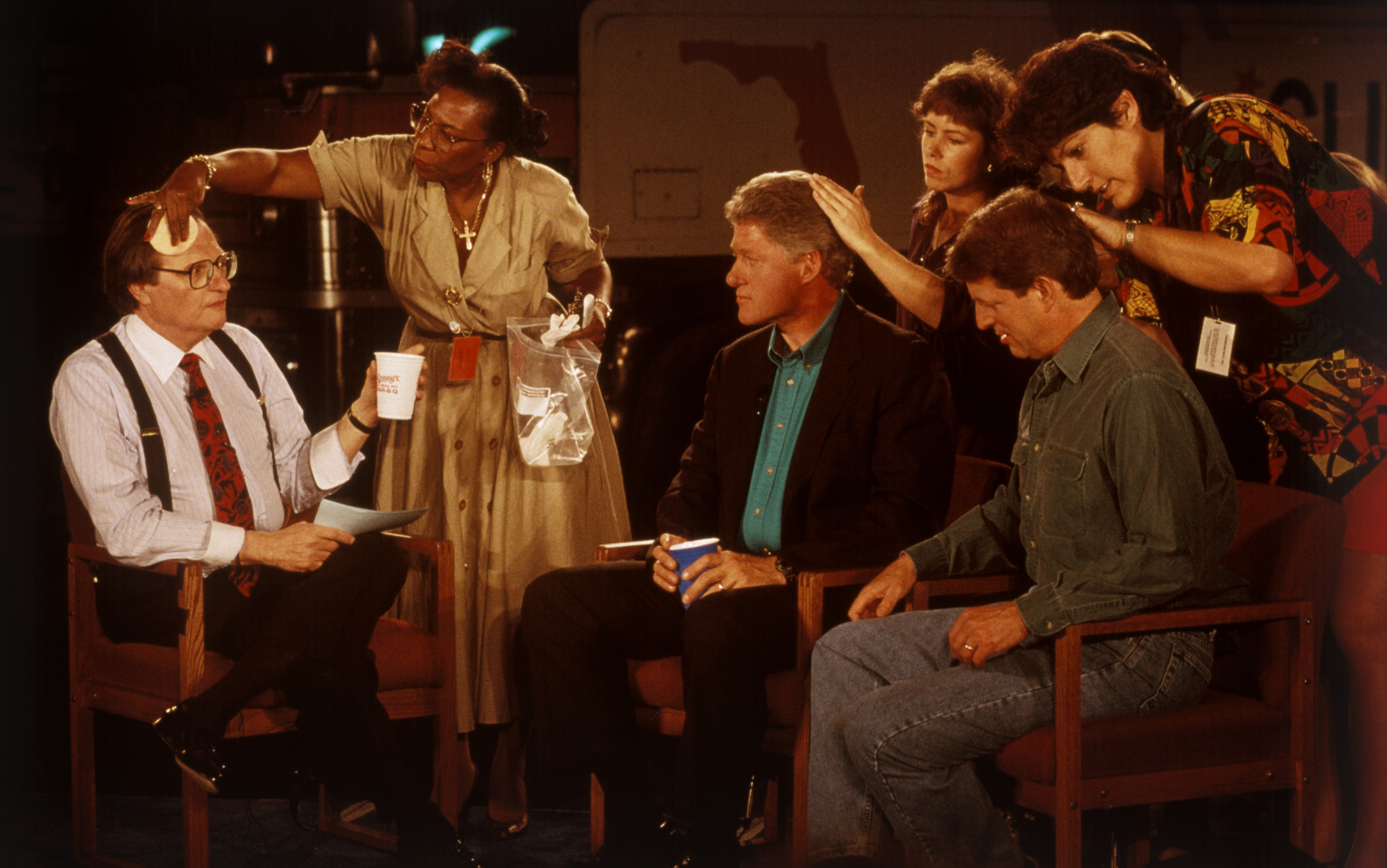 Larry King, Bill Clinton, and Al Gore preparing for a television interview, 1992.