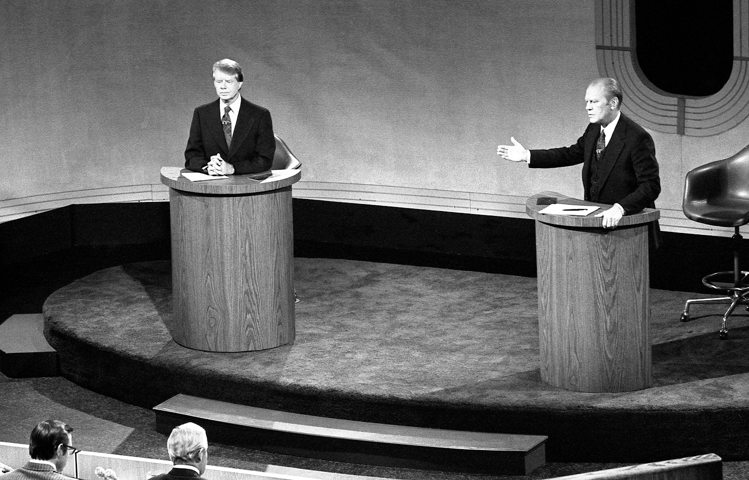 President Ford and Jimmy Carter meet at the Walnut Street Theater in Philadelphia                               to debate domestic policy during the first of the three Ford-Carter Debates, Sept. 23, 1976.
