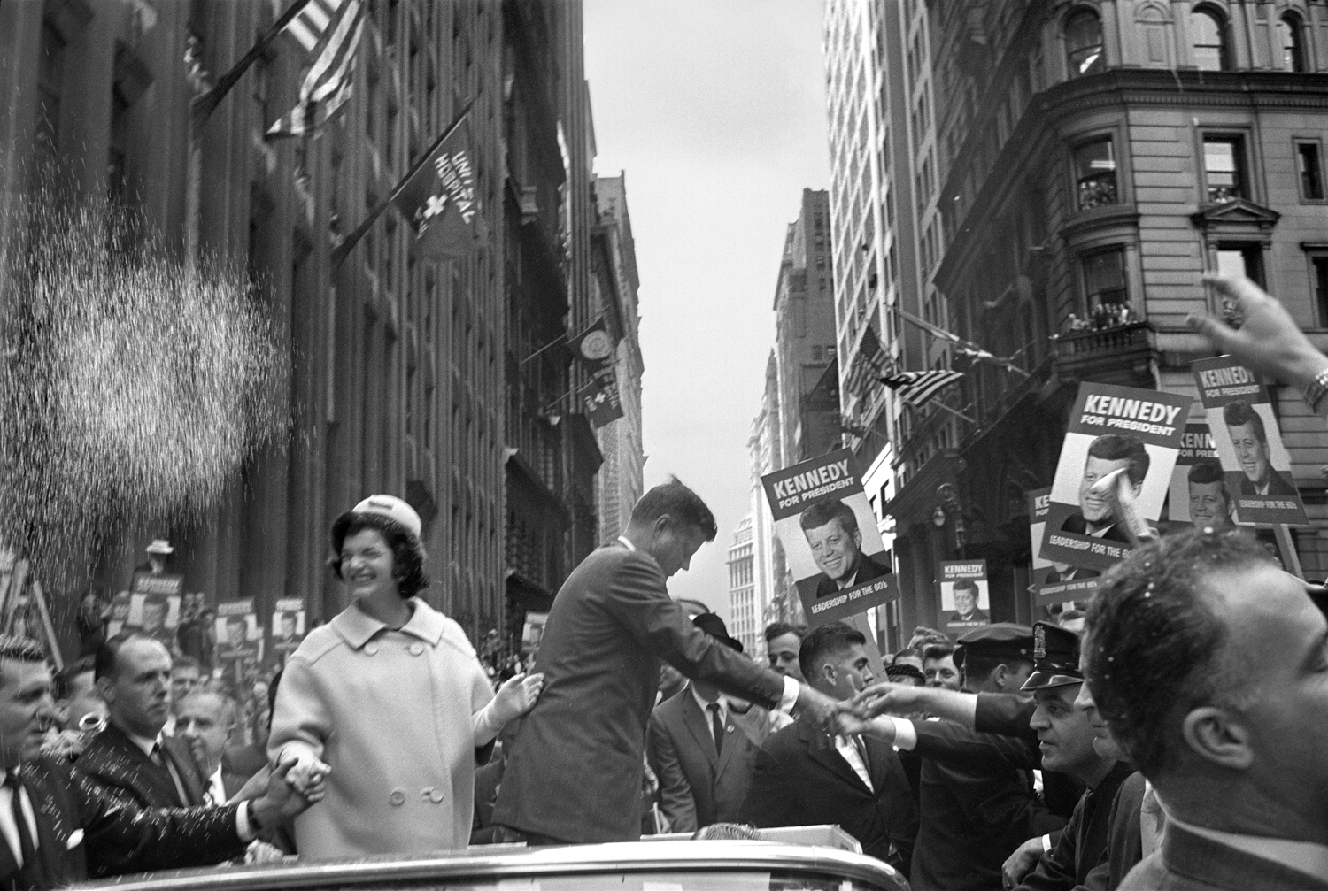 John F. Kennedy and his wife, Jackie, campaigning in New York, Oct. 19, 1960.