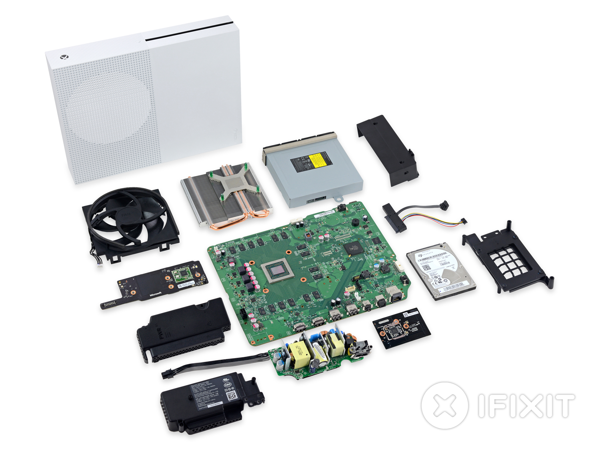 The Xbox One S entirely dismantled.
