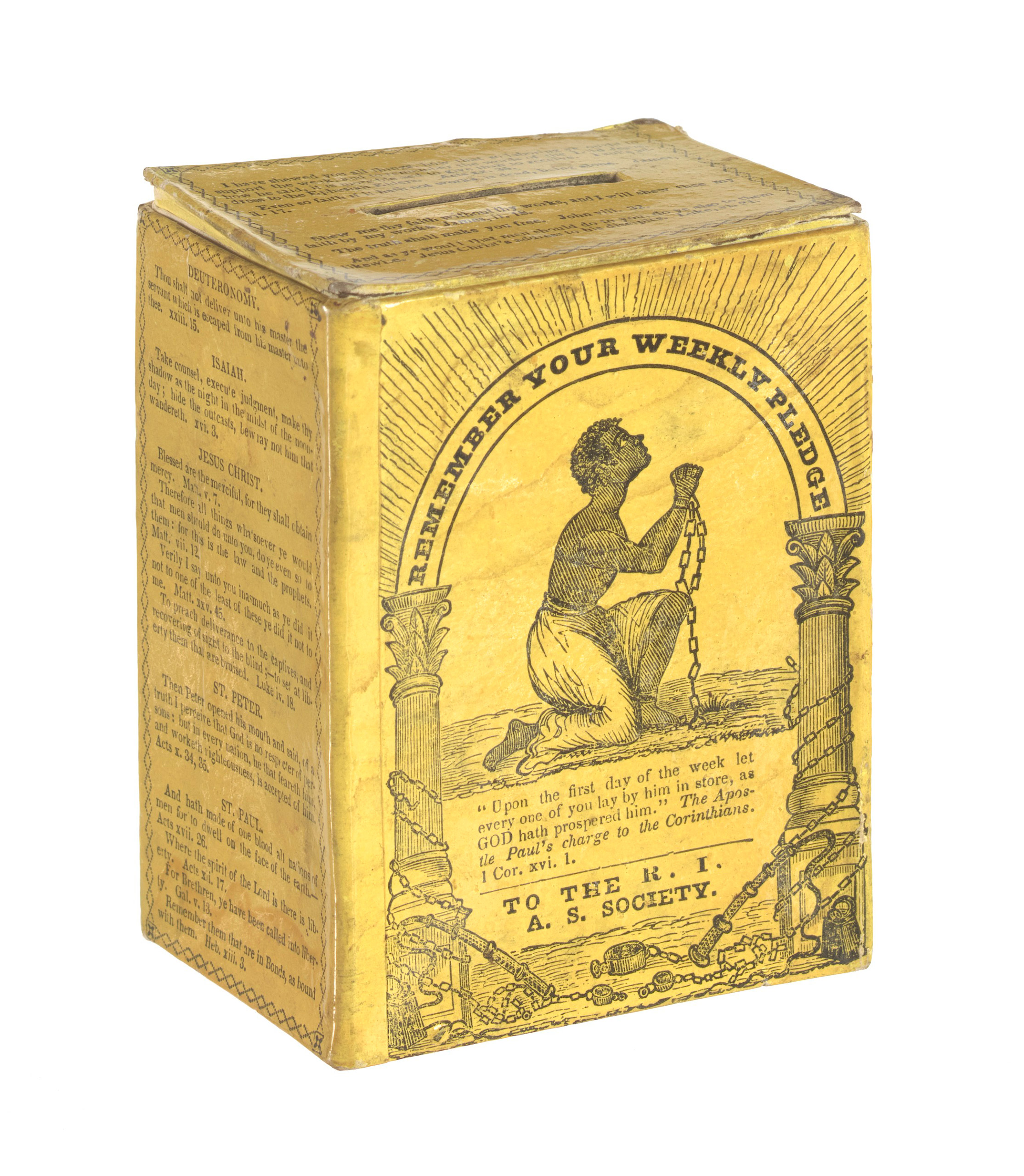 Collection box of the Rhode Island Anti-Slavery Society, owned by Garrison family, ca. 1830s - 1850s.
