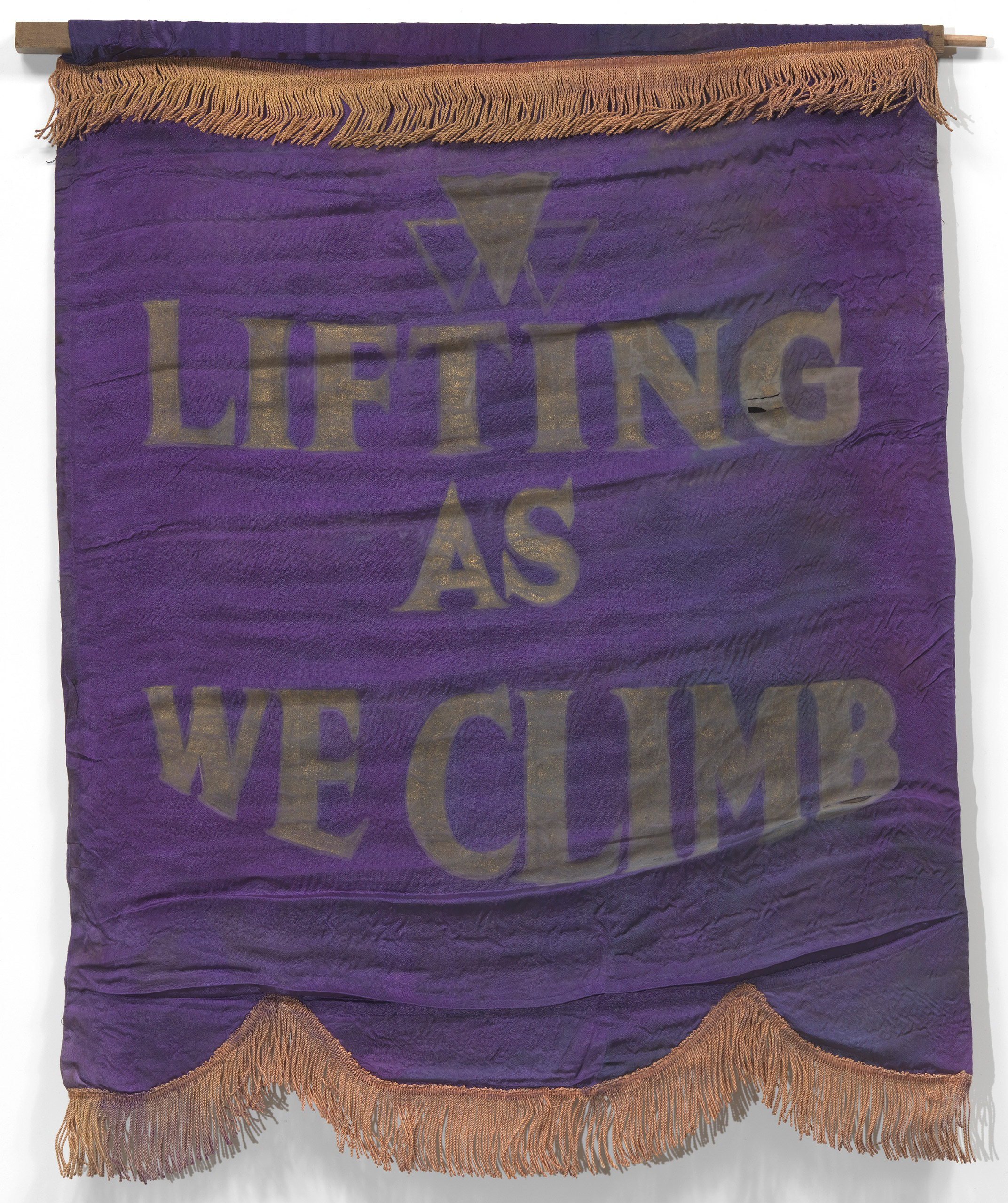Banner with motto of Oklahoma Federation of Colored Women's Clubs,                               ca. 1924.
