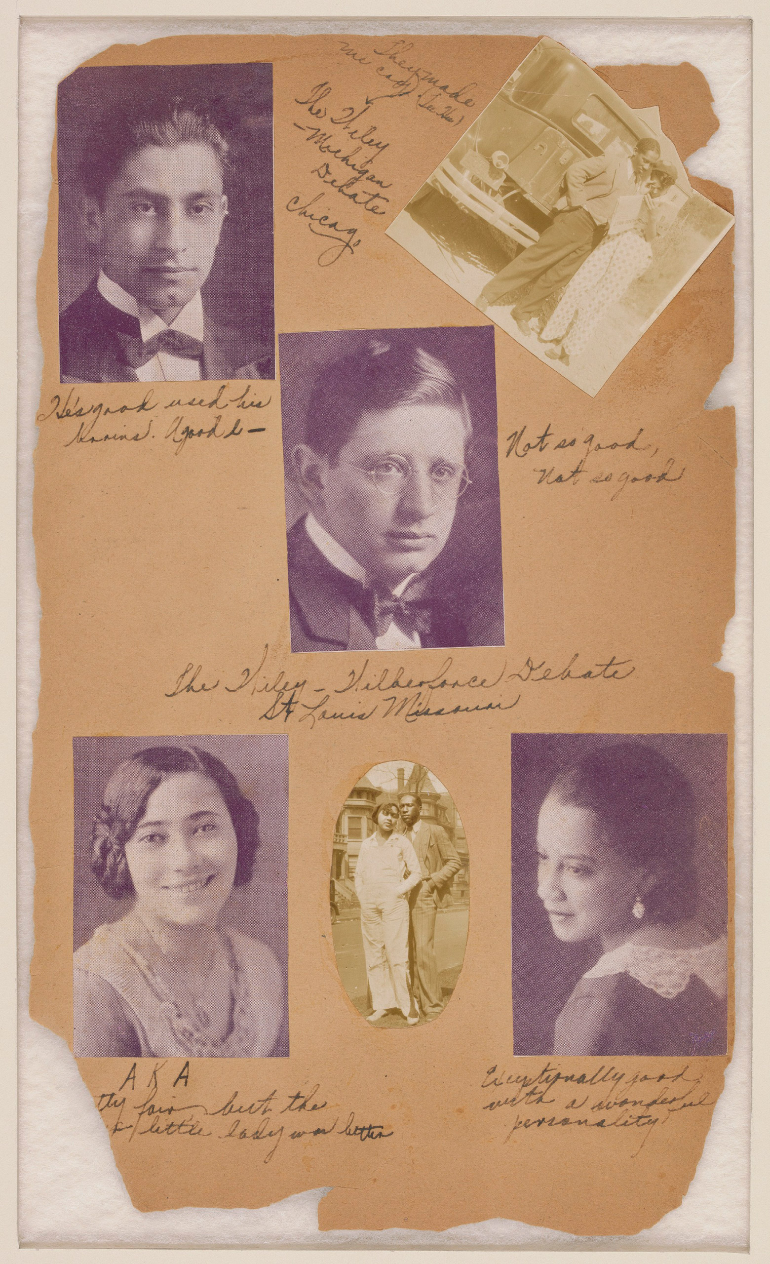 Scrapbook page about the Wiley College Debate Team, 1929-1930.