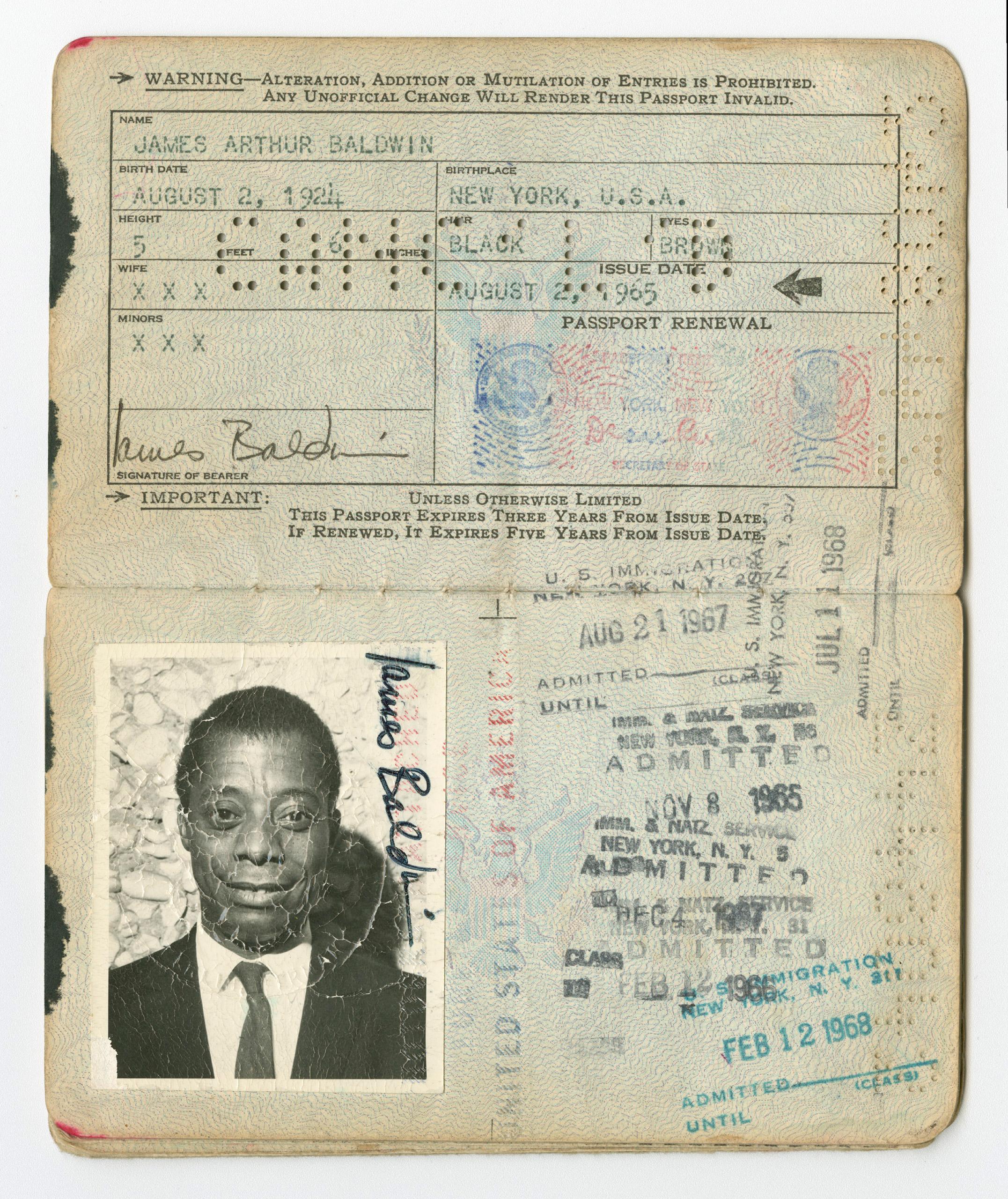 United States passport belonging to James Baldwin, issued Aug. 2, 1965.